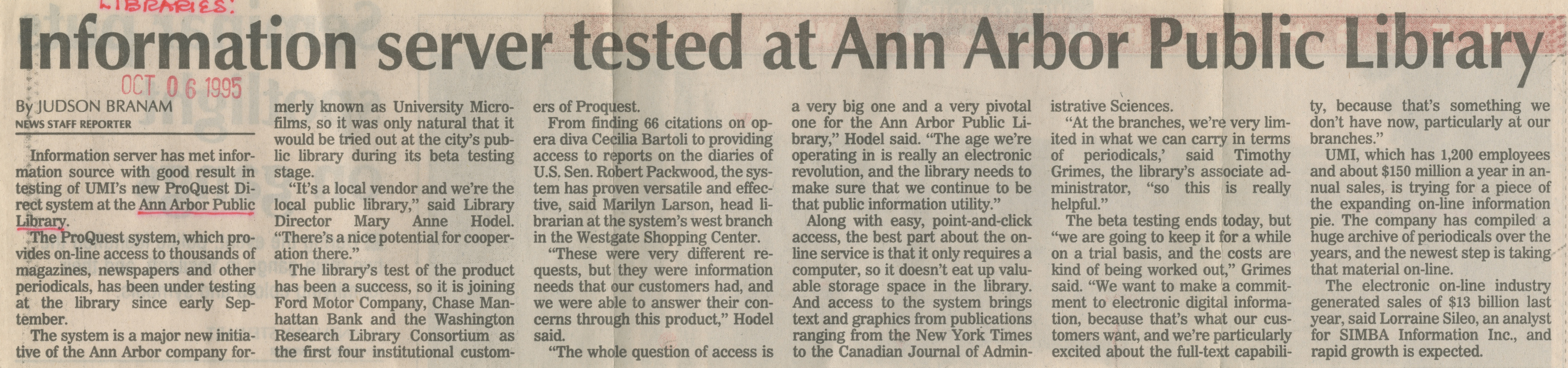 Information Server Tested At Ann Arbor Public Library image