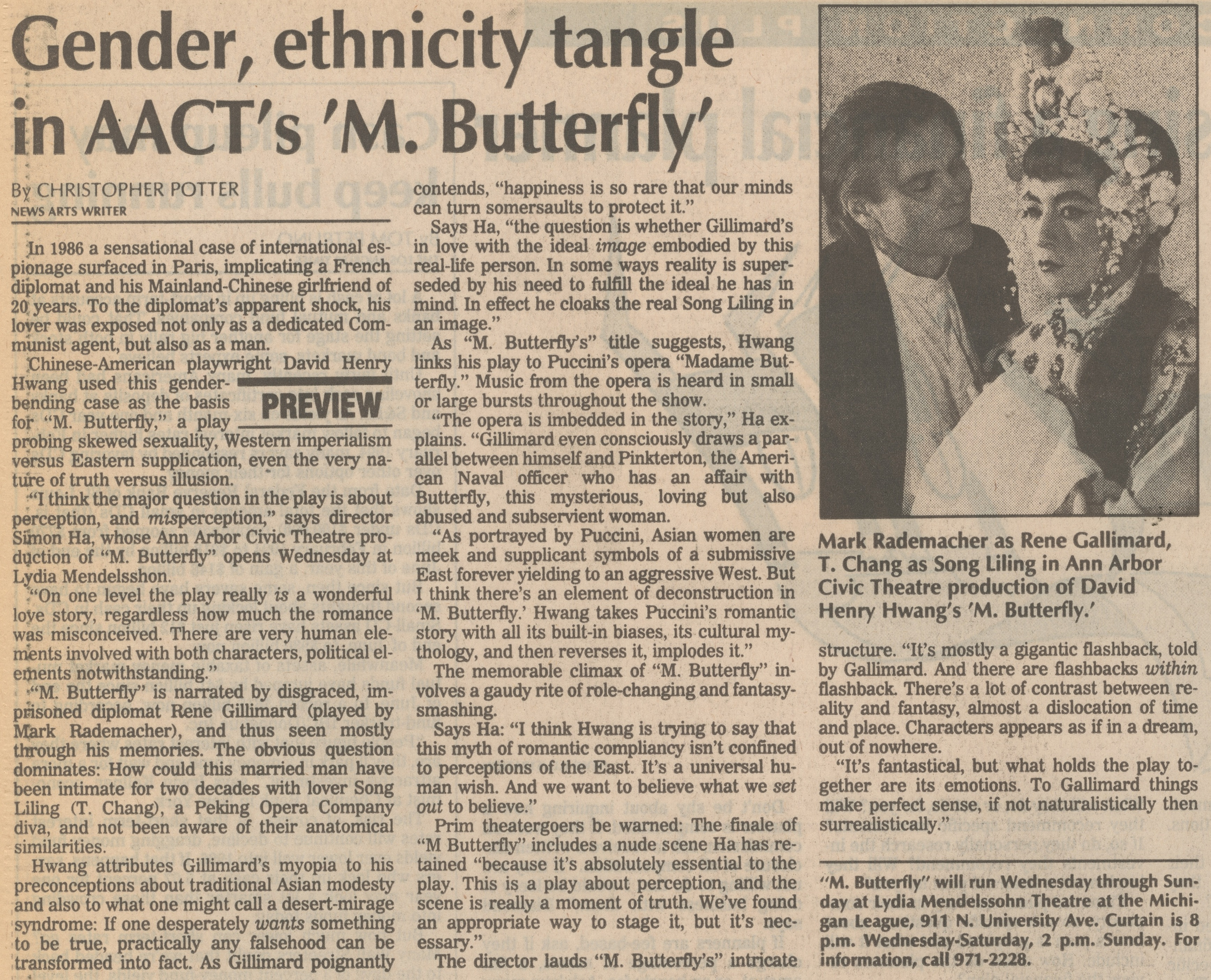 Gender, Ethnicity Tangle In AACT's 'M. Butterfly' image