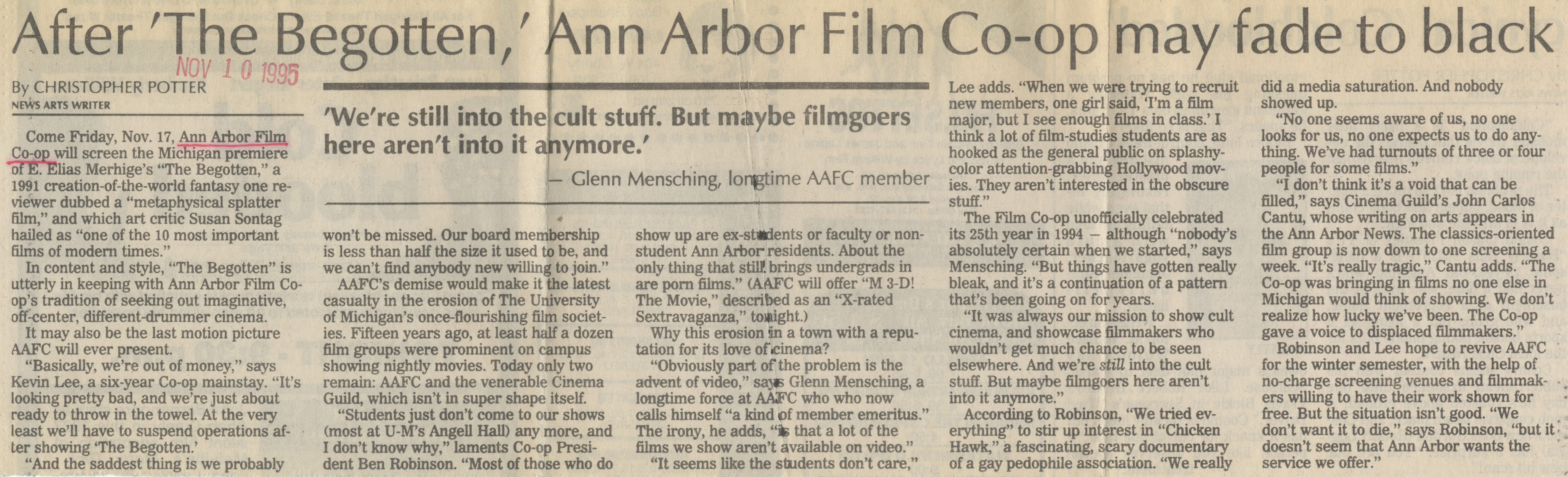 After 'The Begotten,' Ann Arbor Film Co-op may fade to black image
