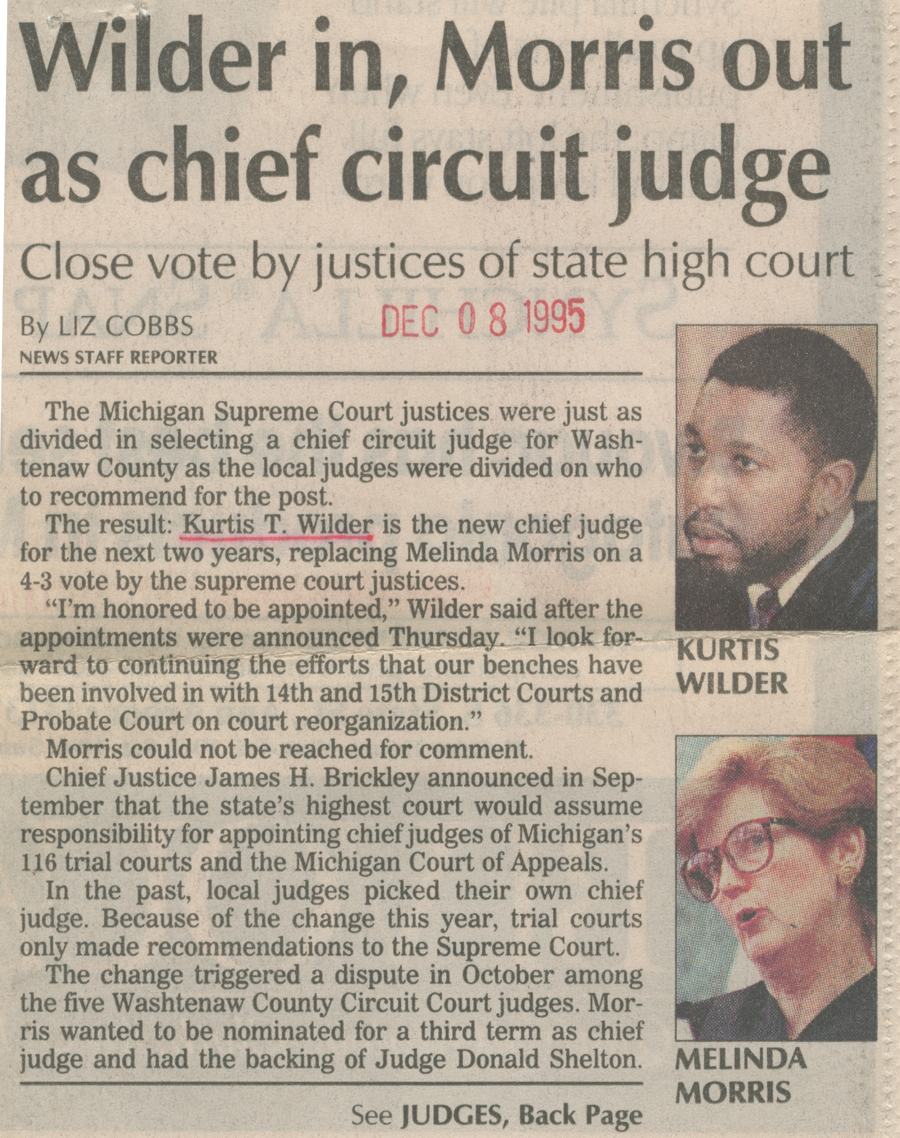 Wilder In, Morris Out As Chief Circuit Judge image