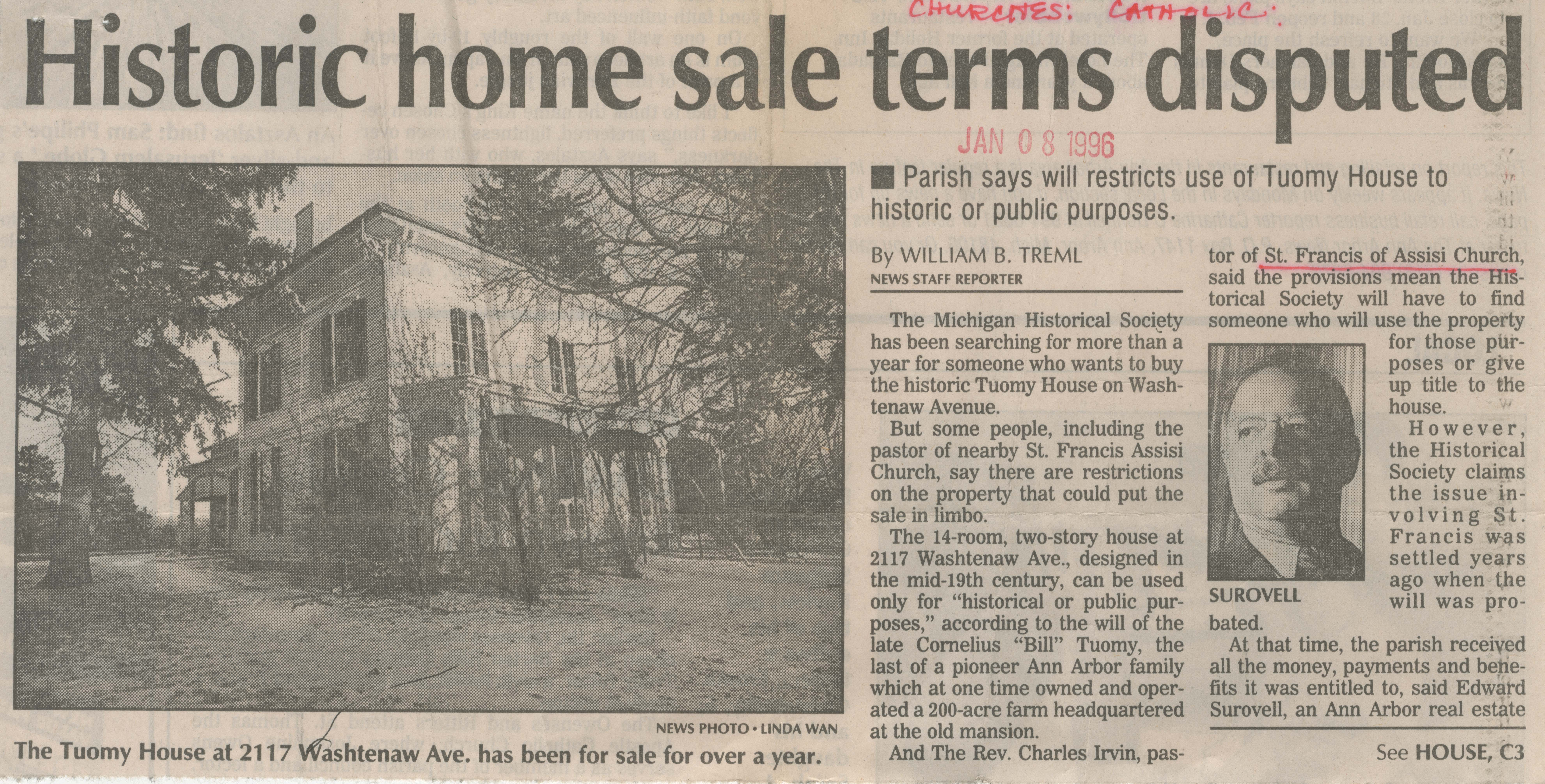Historic Home Sale Terms Disputed image