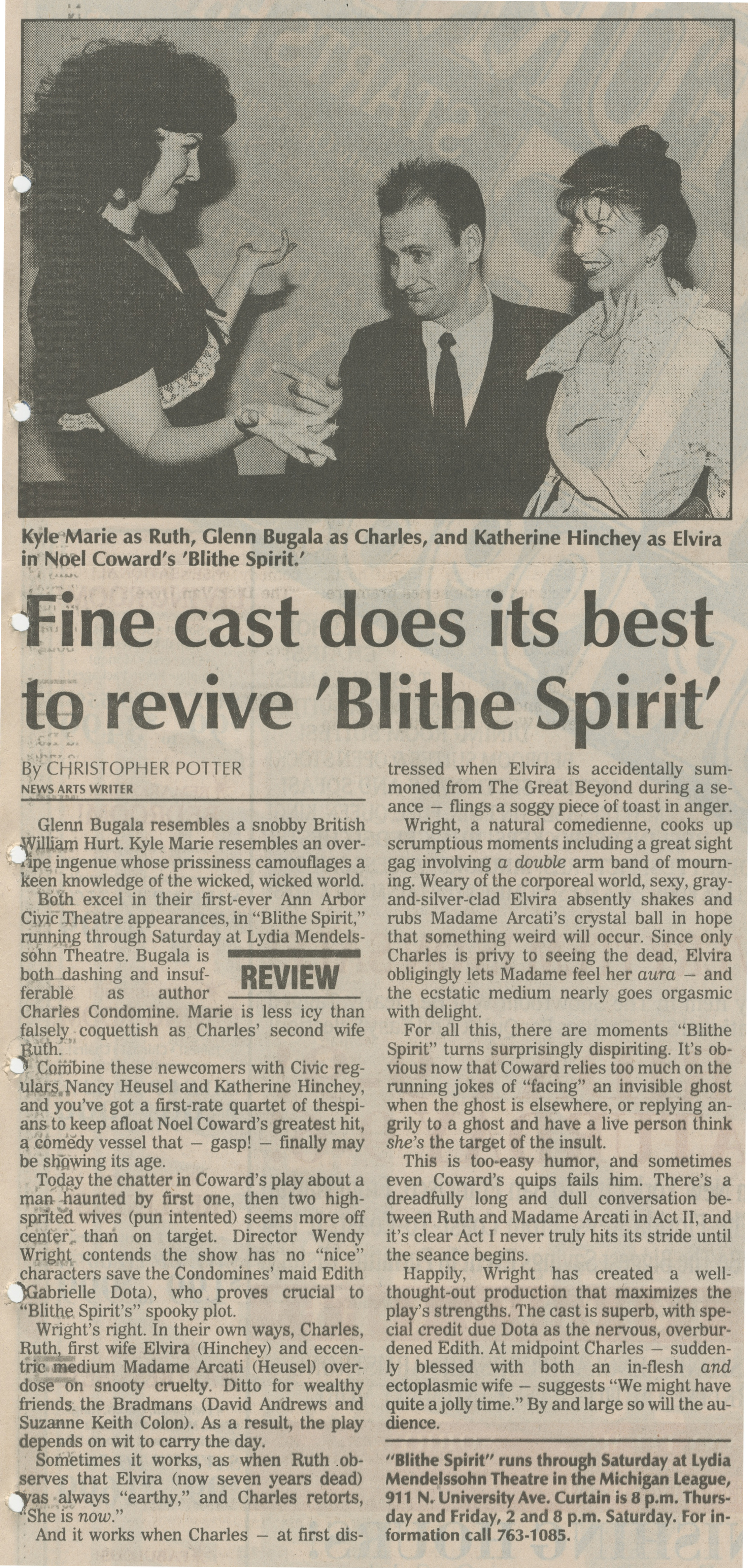 Fine Cast Does Its Best To Revive 'Blithe Spirit' image