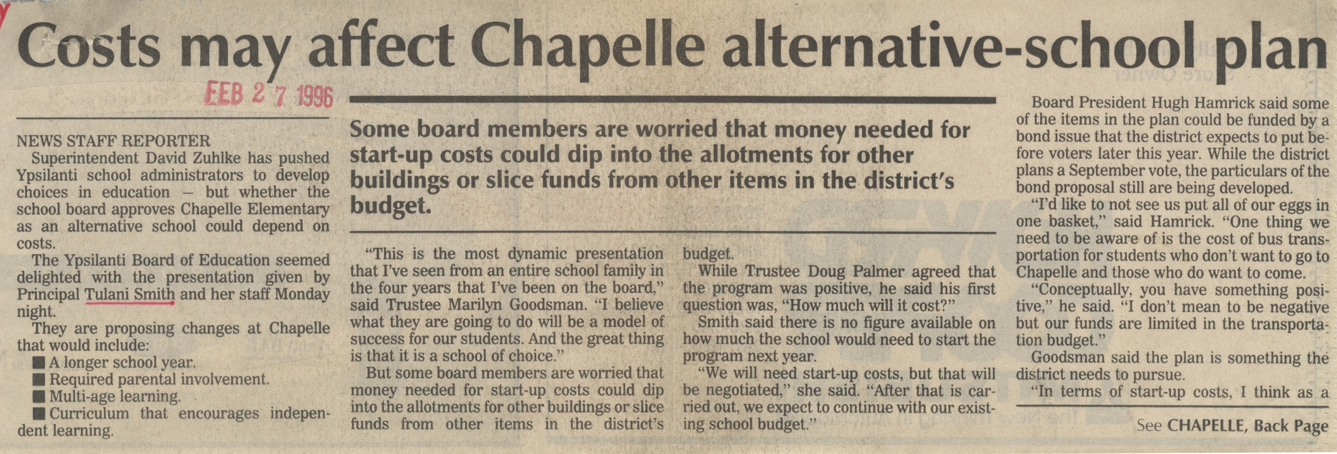 Costs May Affect Chapelle Alternative-School Plan image