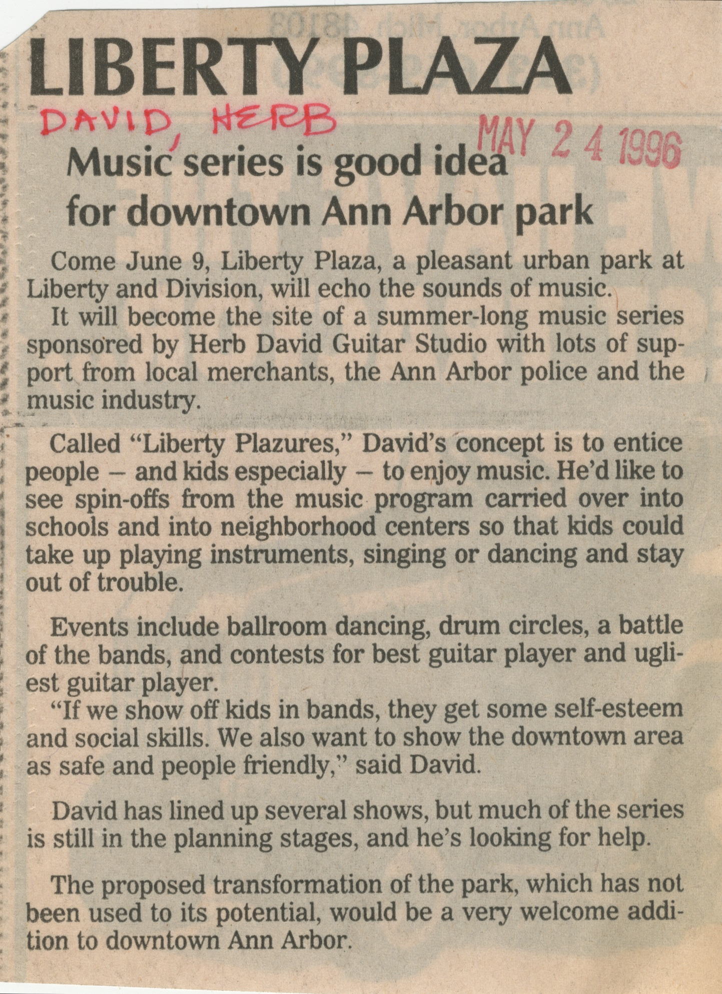 Liberty Plaza - Music Series Is Good Idea For Downtown Ann Arbor image