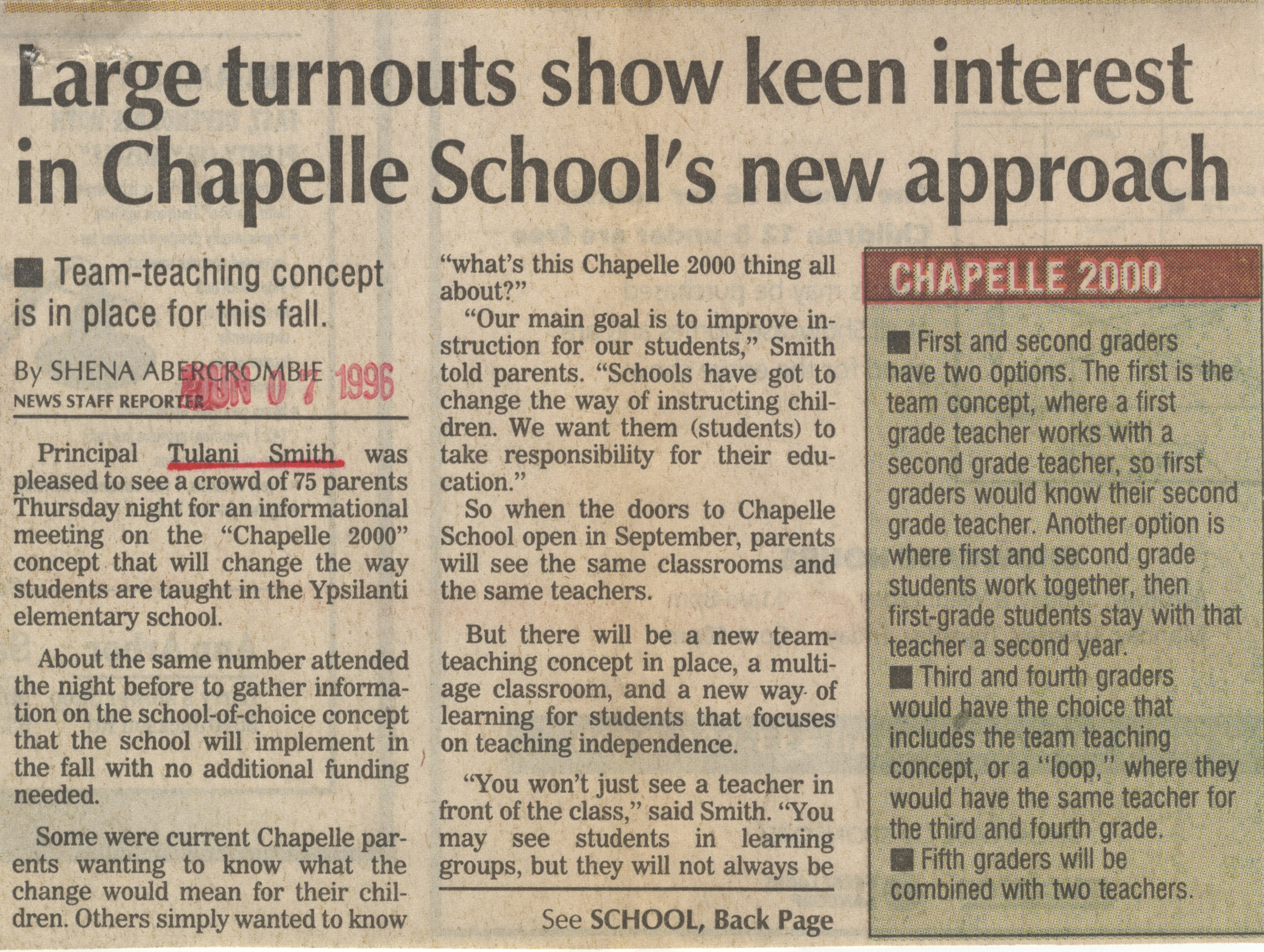 Large Turnouts Show Keen Interest In Chapelle School's New Approach image