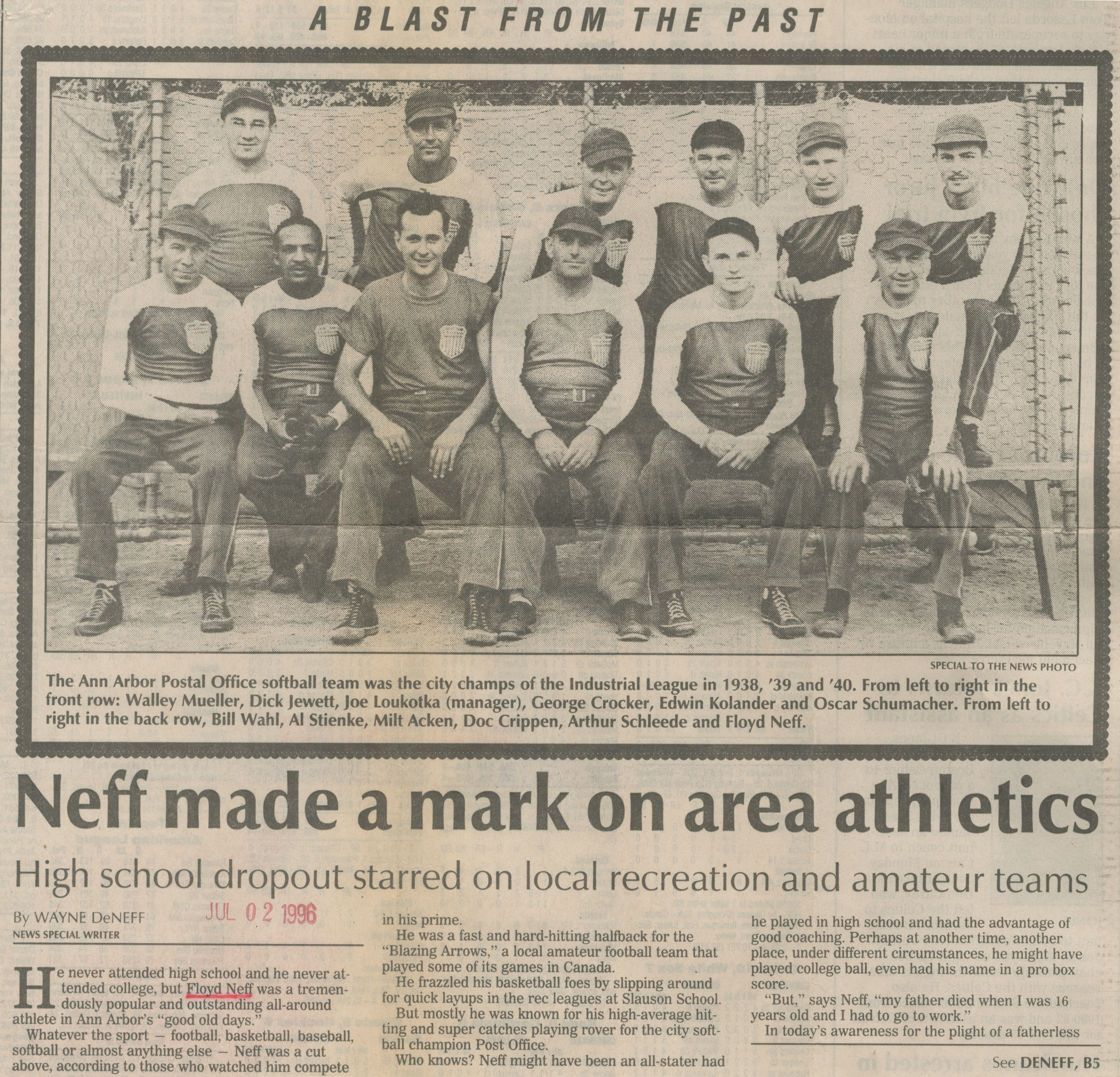 Neff Made A Mark On Area Athletics - A Blast From The Past image