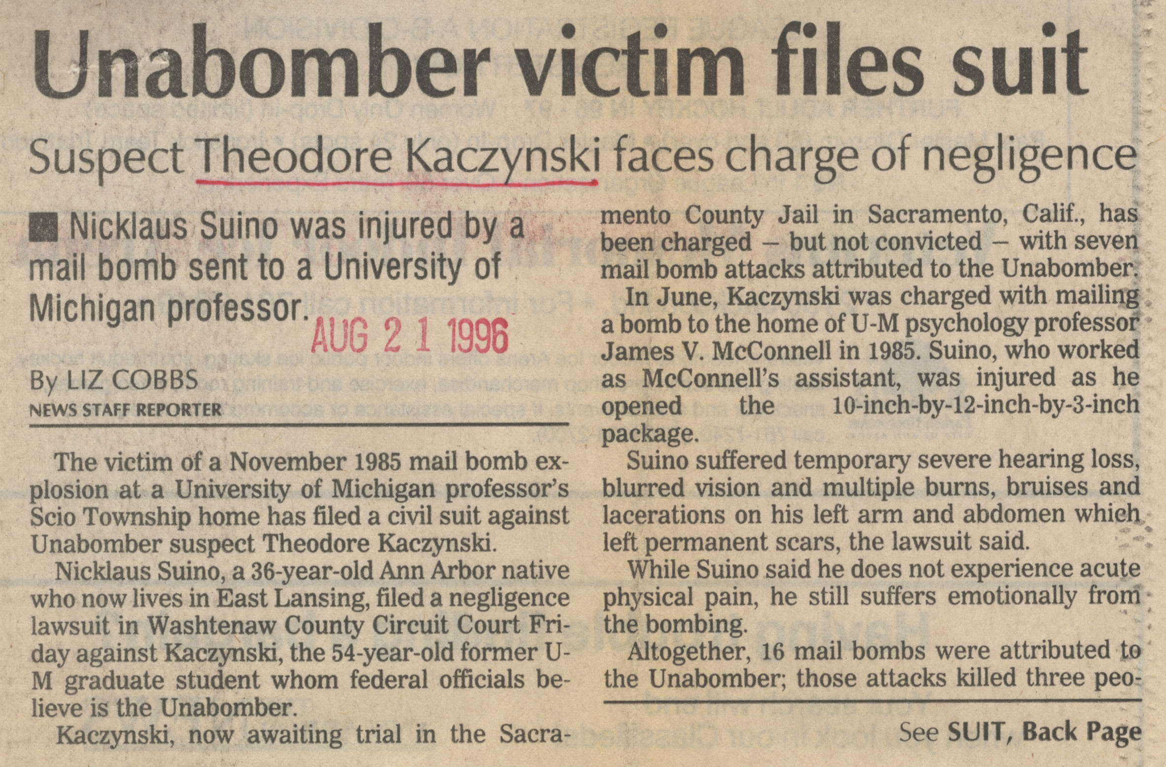 Unabomber Victim Files Suit image