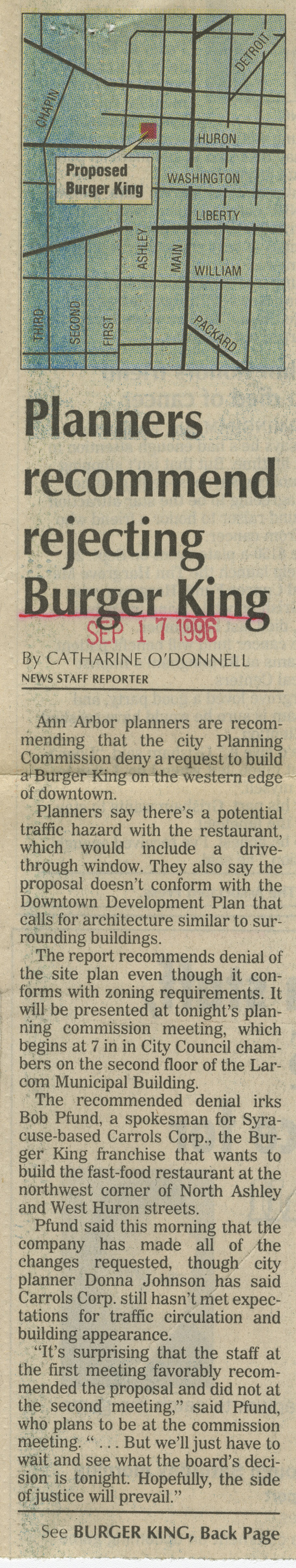 Planners recommend rejecting Burger King image