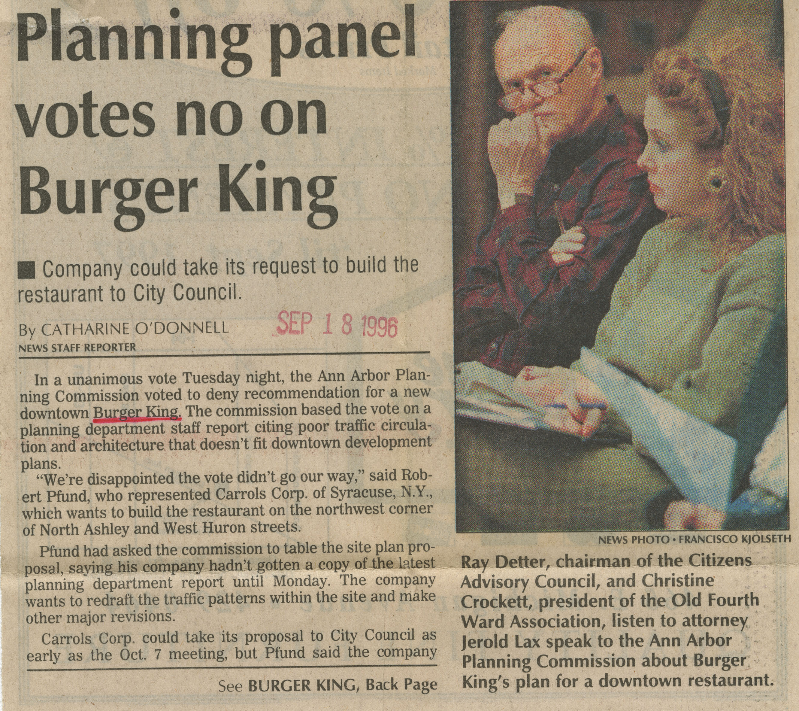 Planning panel votes no on Burger King image