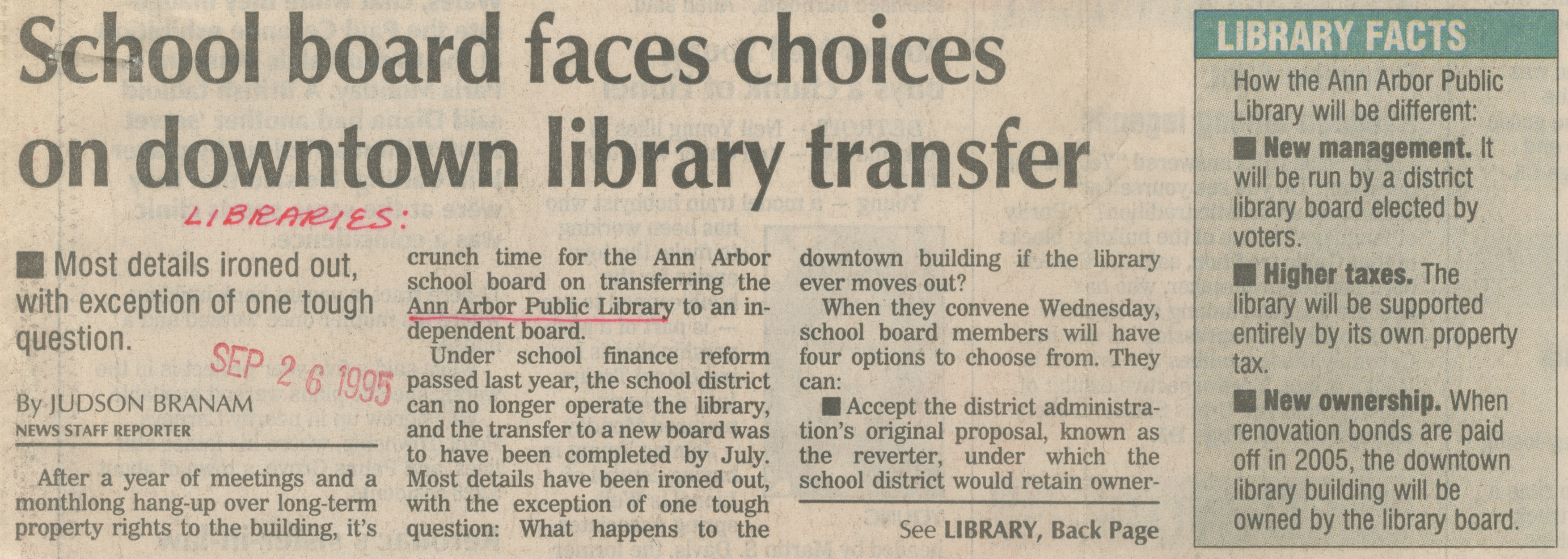 School Board Faces Choices On Downtown Library Transfer image