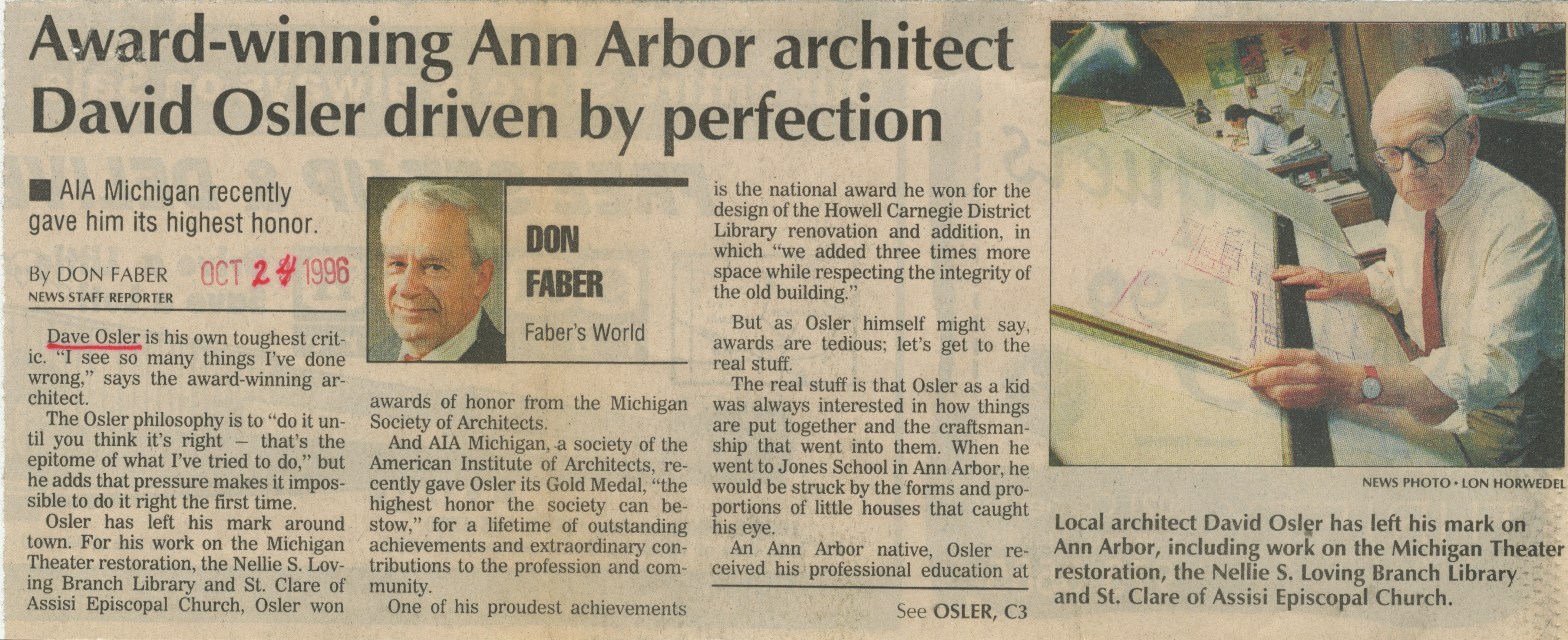 Faber's World: Award-Winning Ann Arbor Architect David Osler Driven By Perfection, AIA Michigan Recently Gave Him Its Highest Honor image