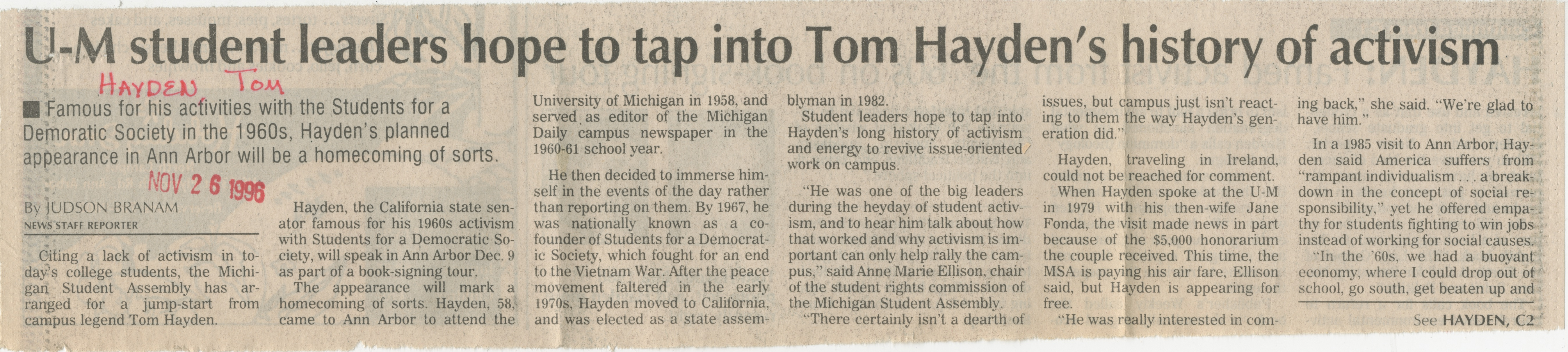 U-M Student Leaders Hope To Tap Into Tom Hayden's History Of Activism image