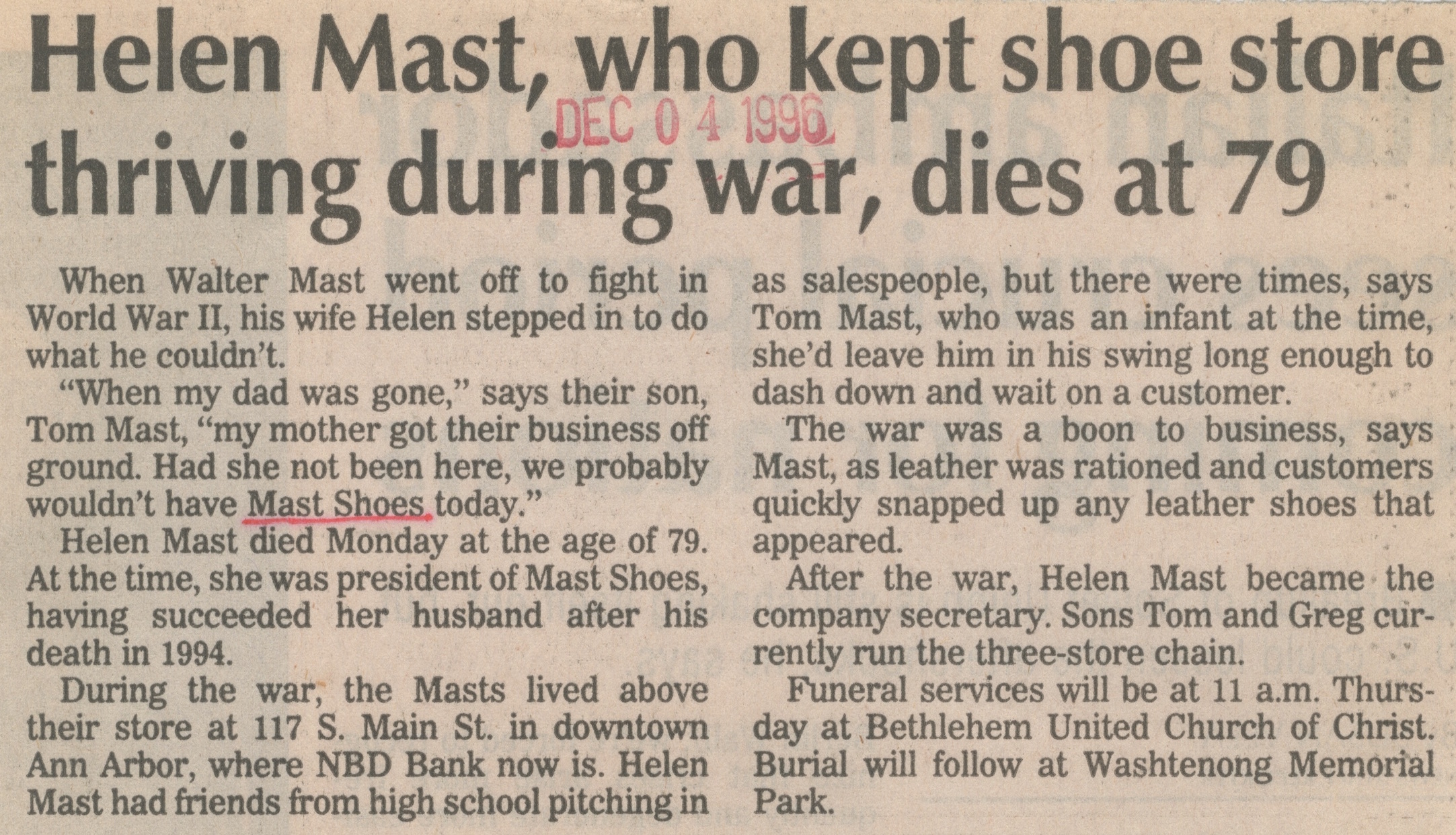 Helen Mast, Who Kept Shoe Store Thriving During War, Dies At 79 image