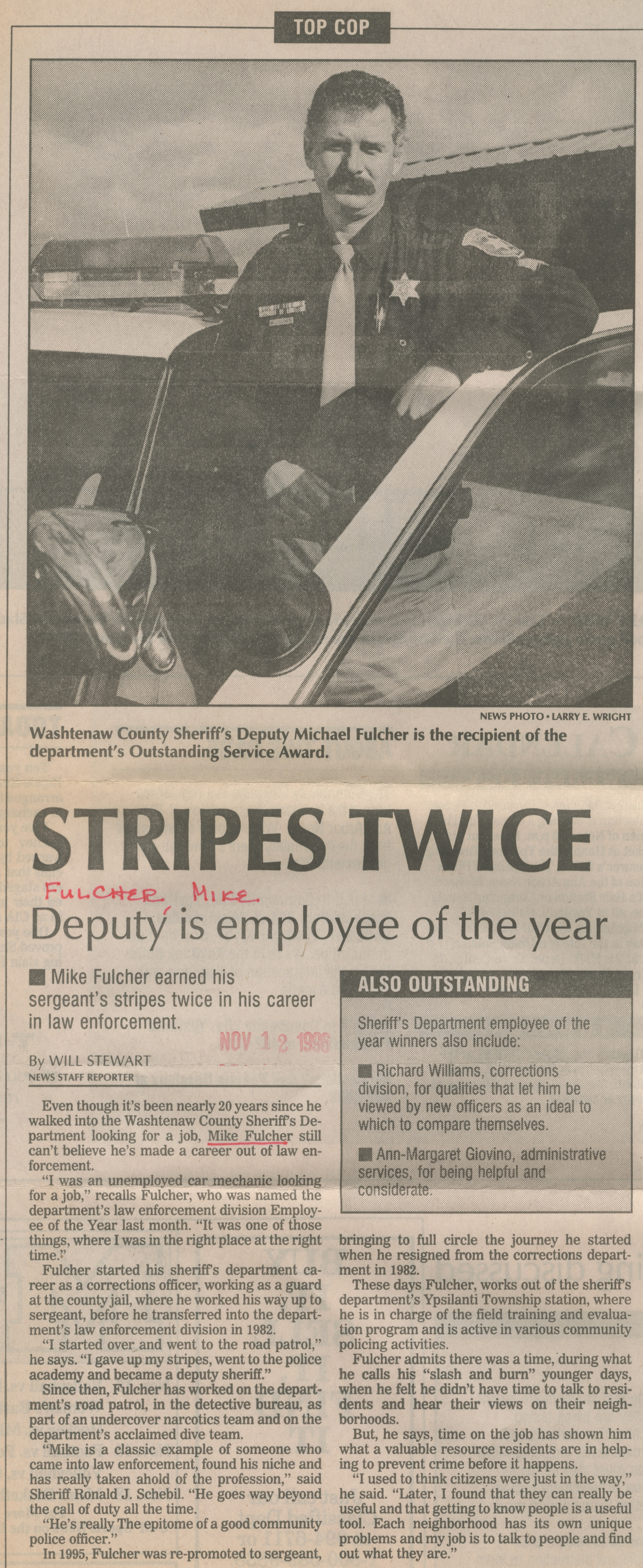 Stripes Twice - Deputy Is Employee Of The Year image
