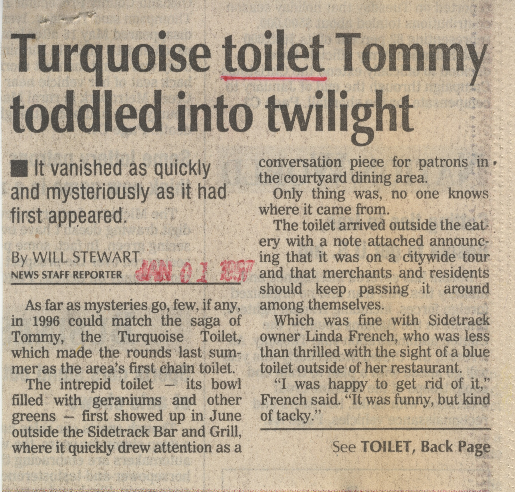 Tuquise Toilet Tommy Toddles Into Twilight image