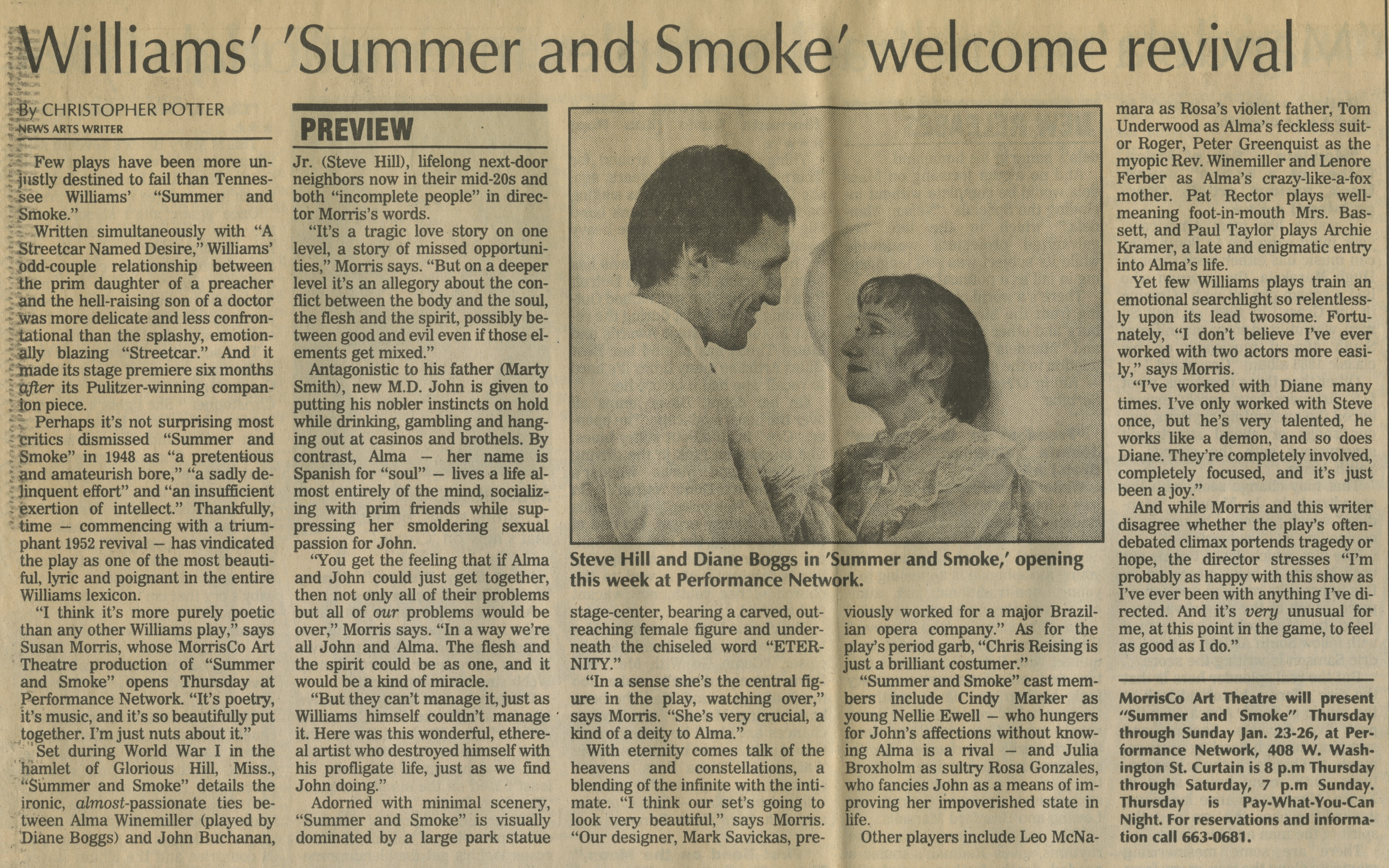 Williams' 'Summer and Smoke' welcome revival image