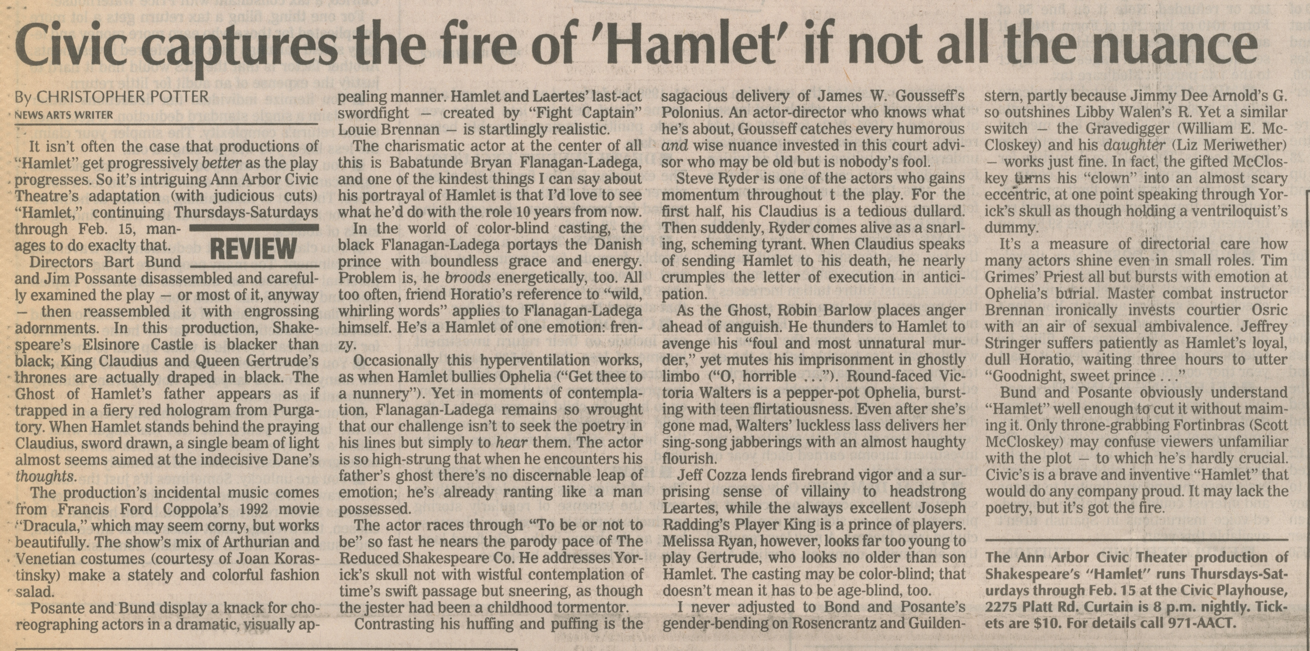 Civic Captures The Fire Of 'Hamlet' If Not All The Nuance image