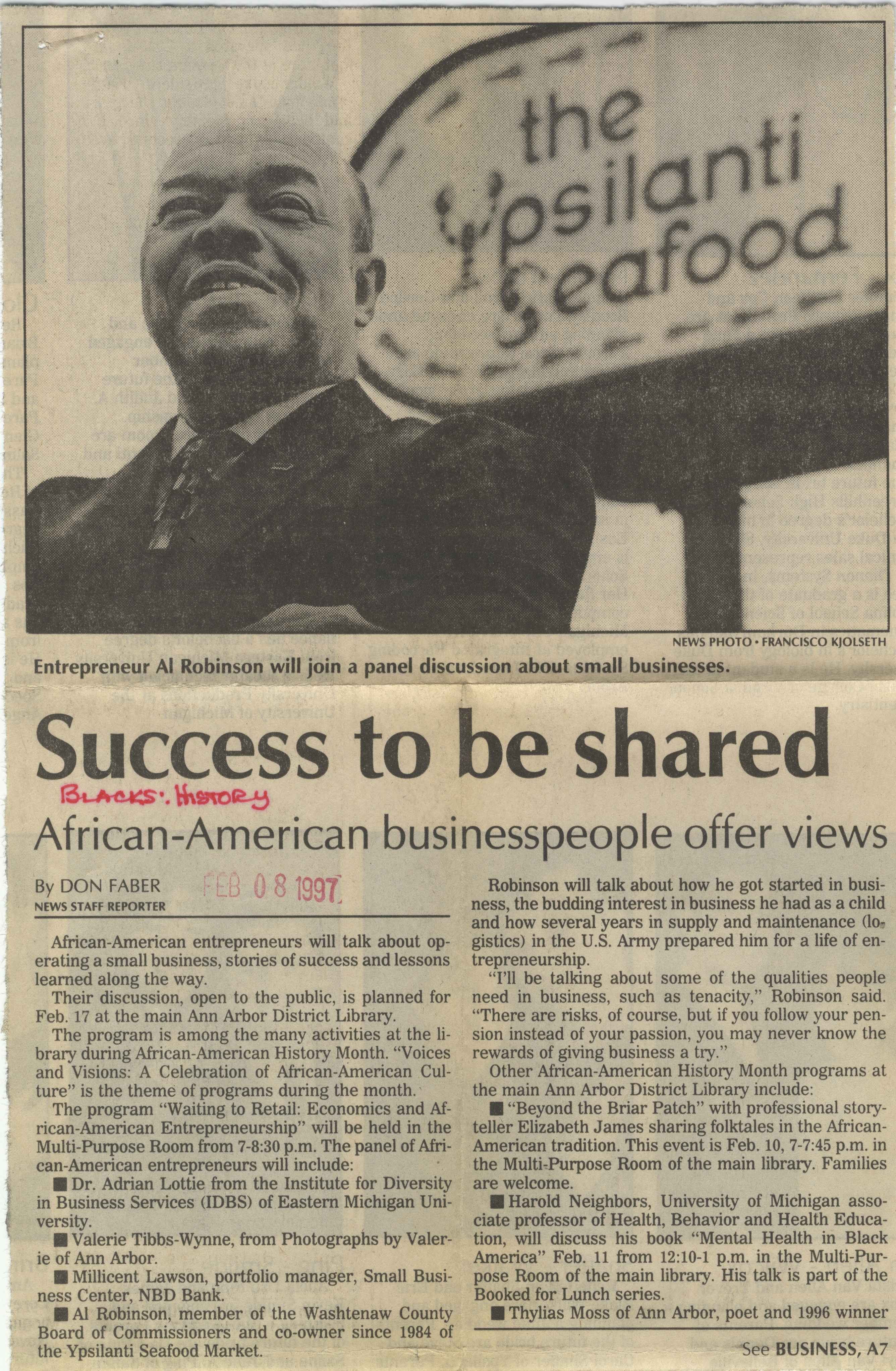 Success To Be Shared: African-American Businesspeople Offer Views image