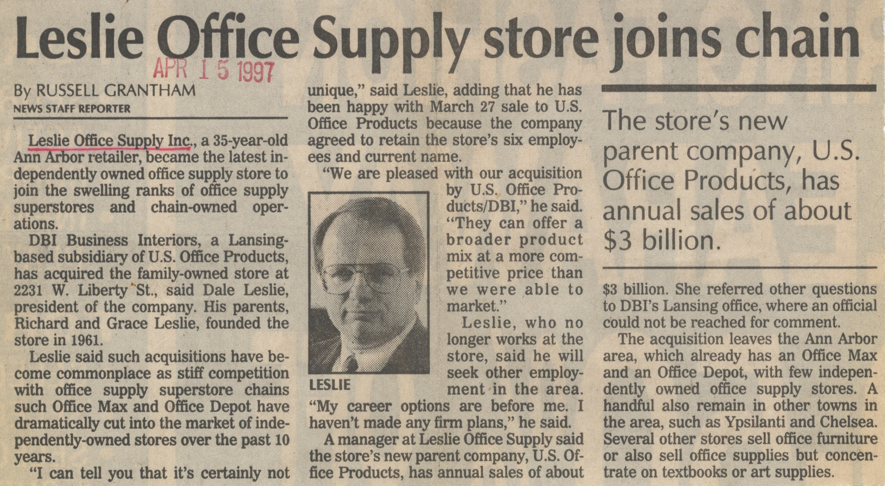 Leslie Office Supply Store Joins Chain image