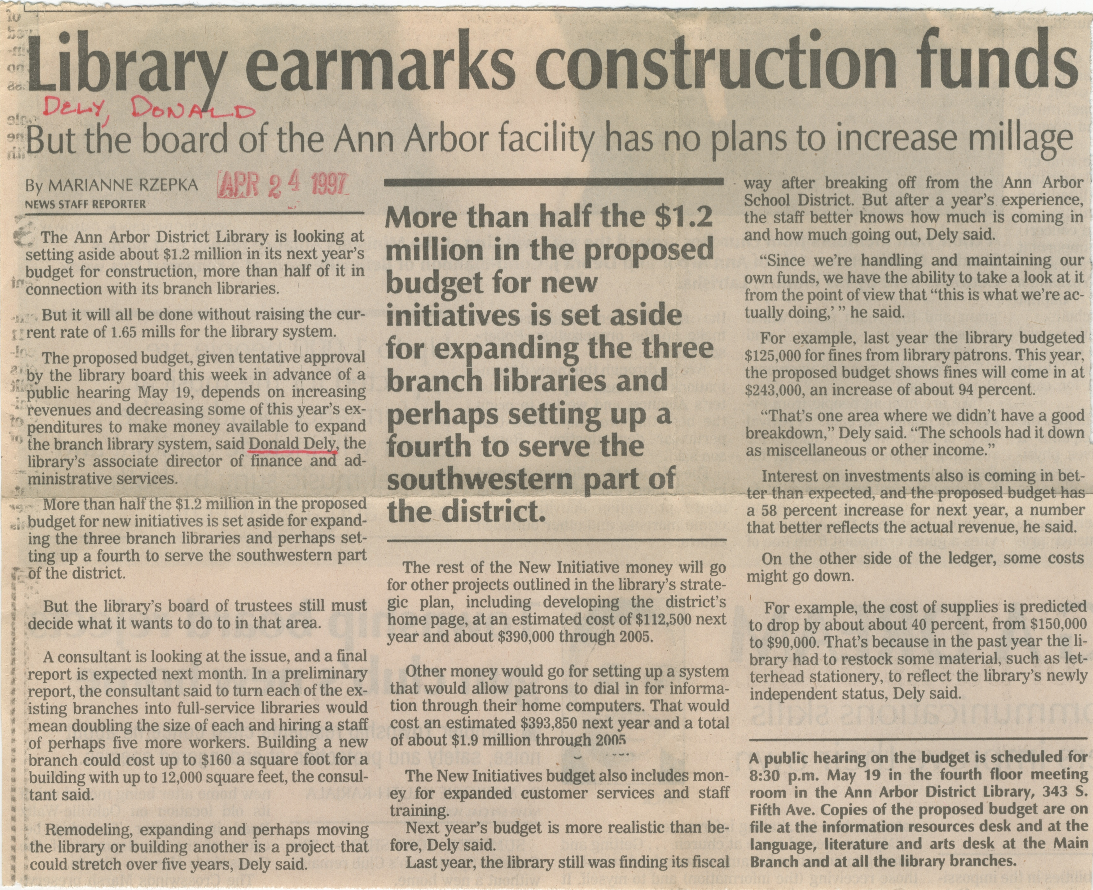Library Earmarks Construction Funds image