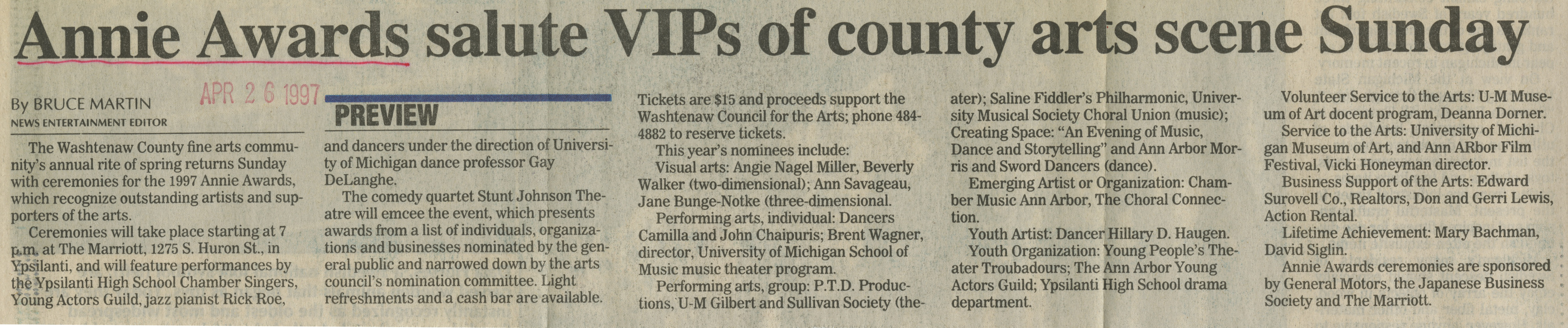 Annie Awards salute VIPs of county arts scene Sunday image