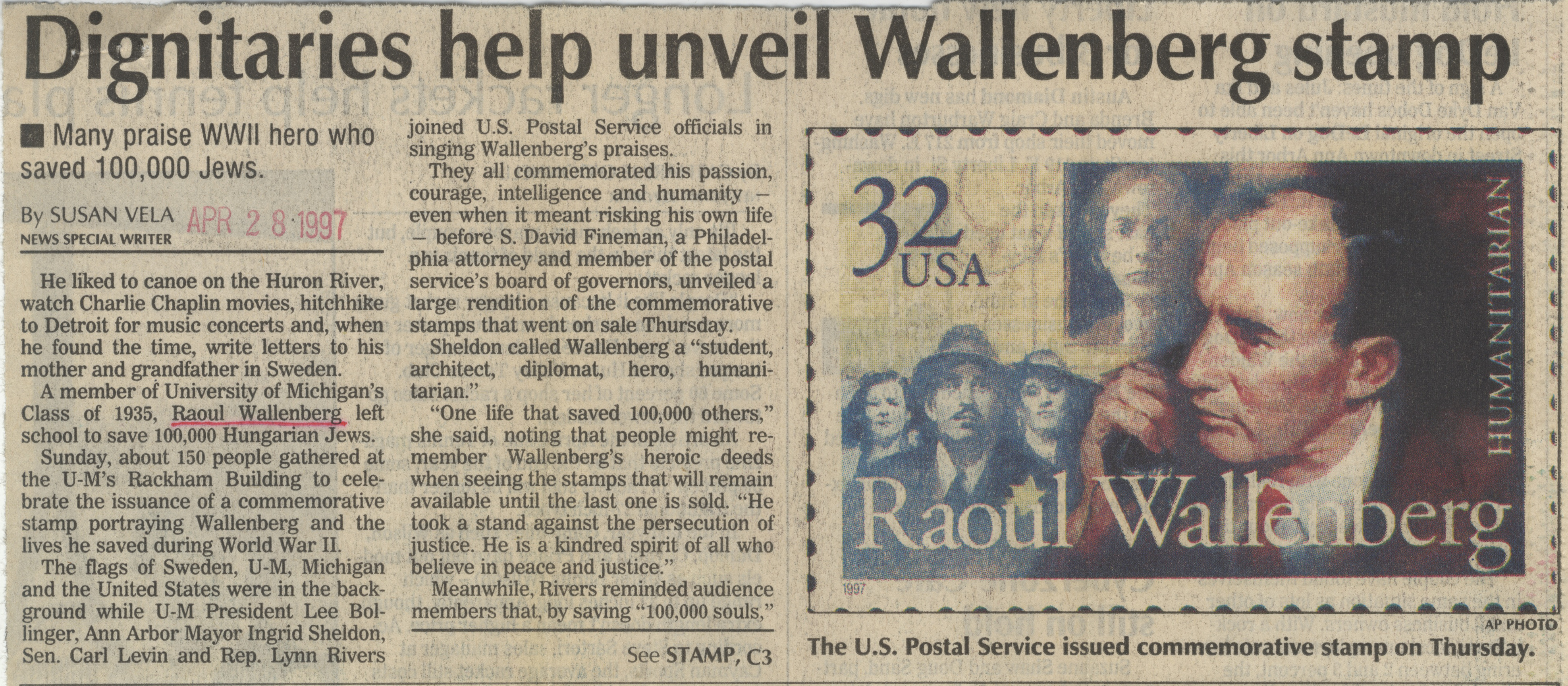 Dignitaries Help Unveil Wallenberg Stamp image