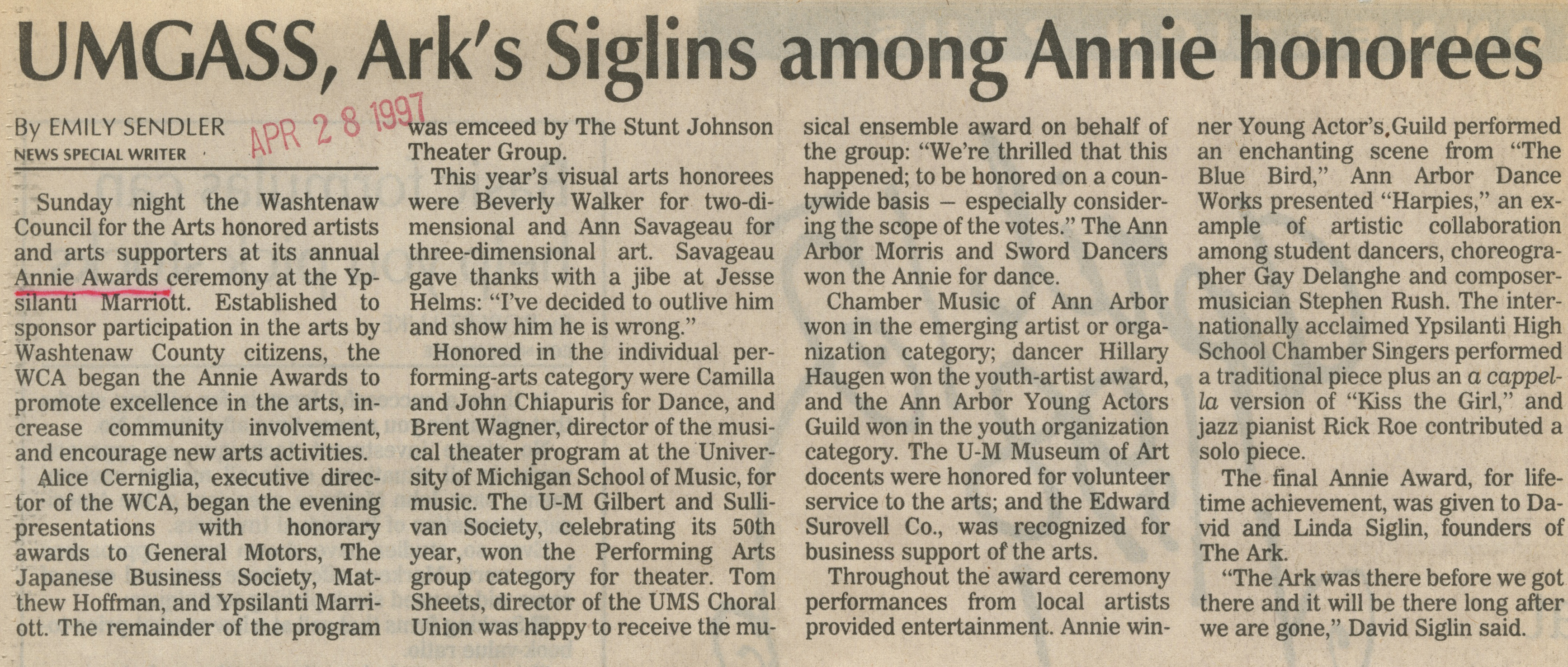 UMGASS, Ark's Siglins among Annie Honorees image