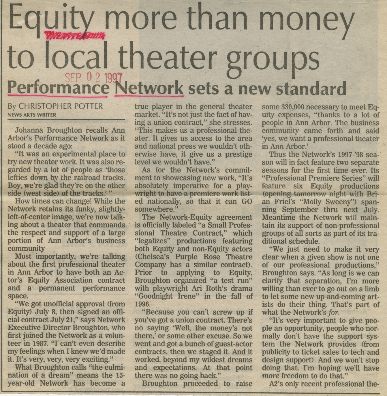 Equity more than money to local theater groups image