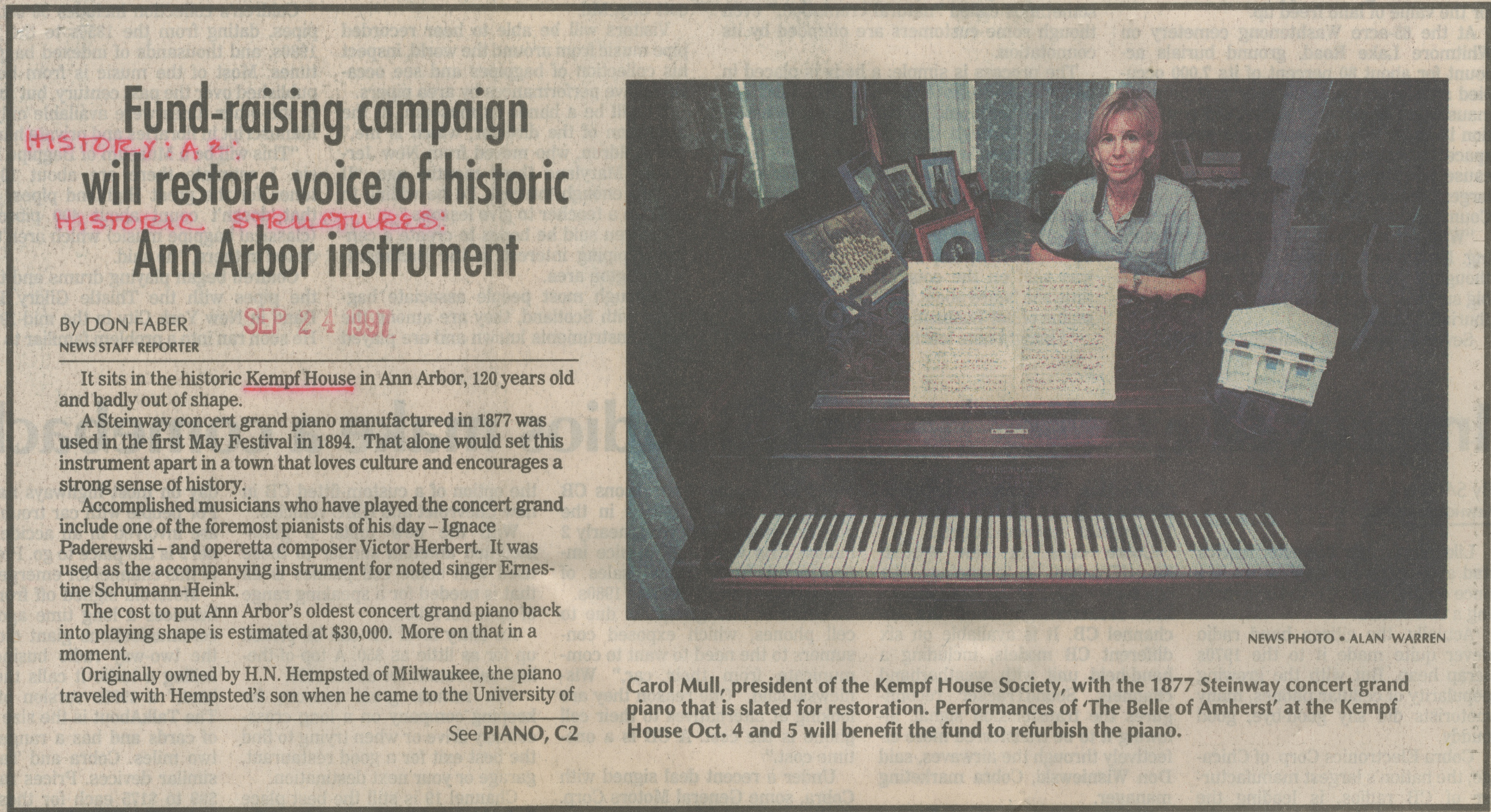 Fund-Raising Campaign Will Restore Voice Of Historic Ann Arbor Instrument image