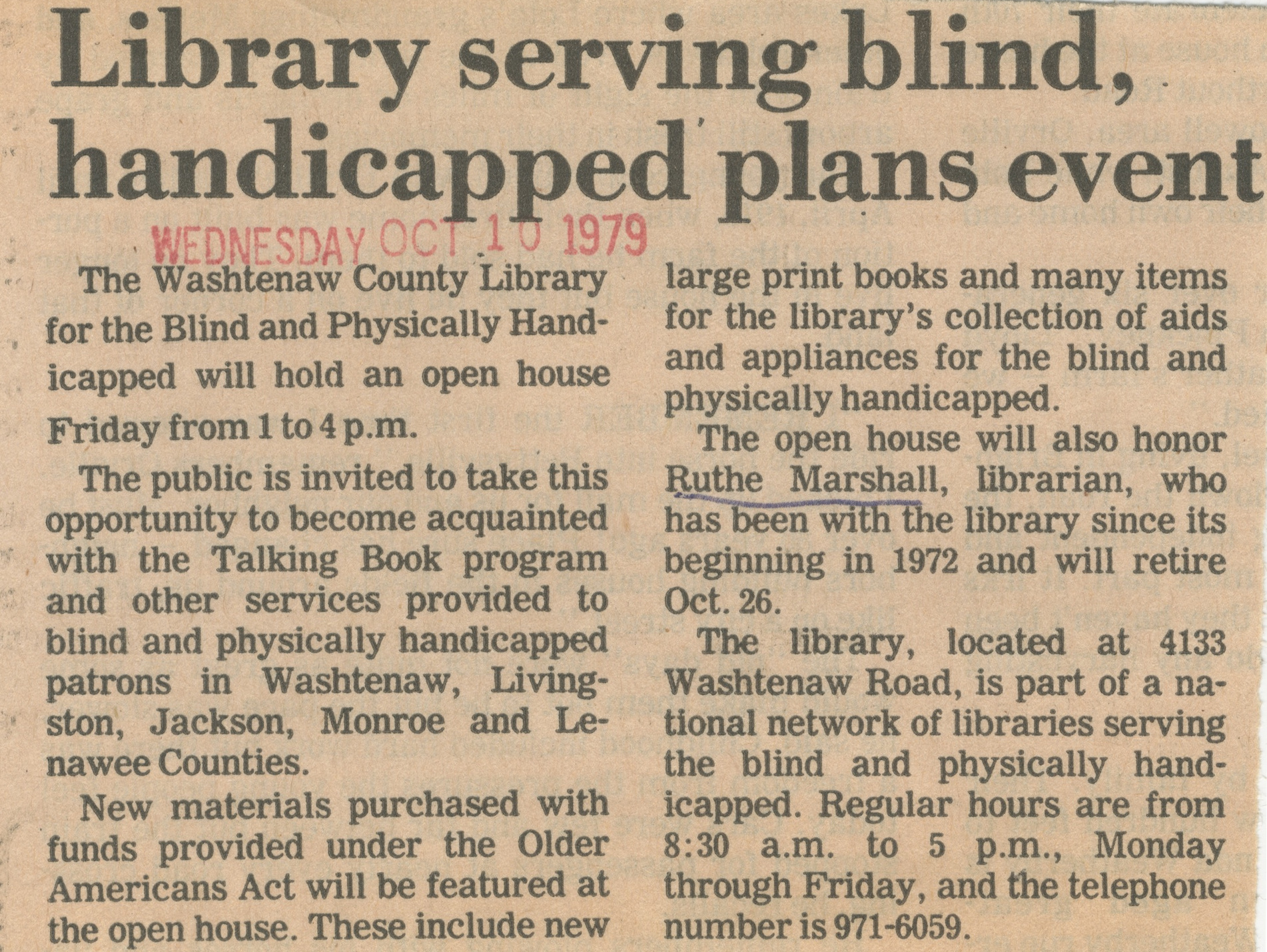 Library Serving Blind, Handicapped Plans Event image