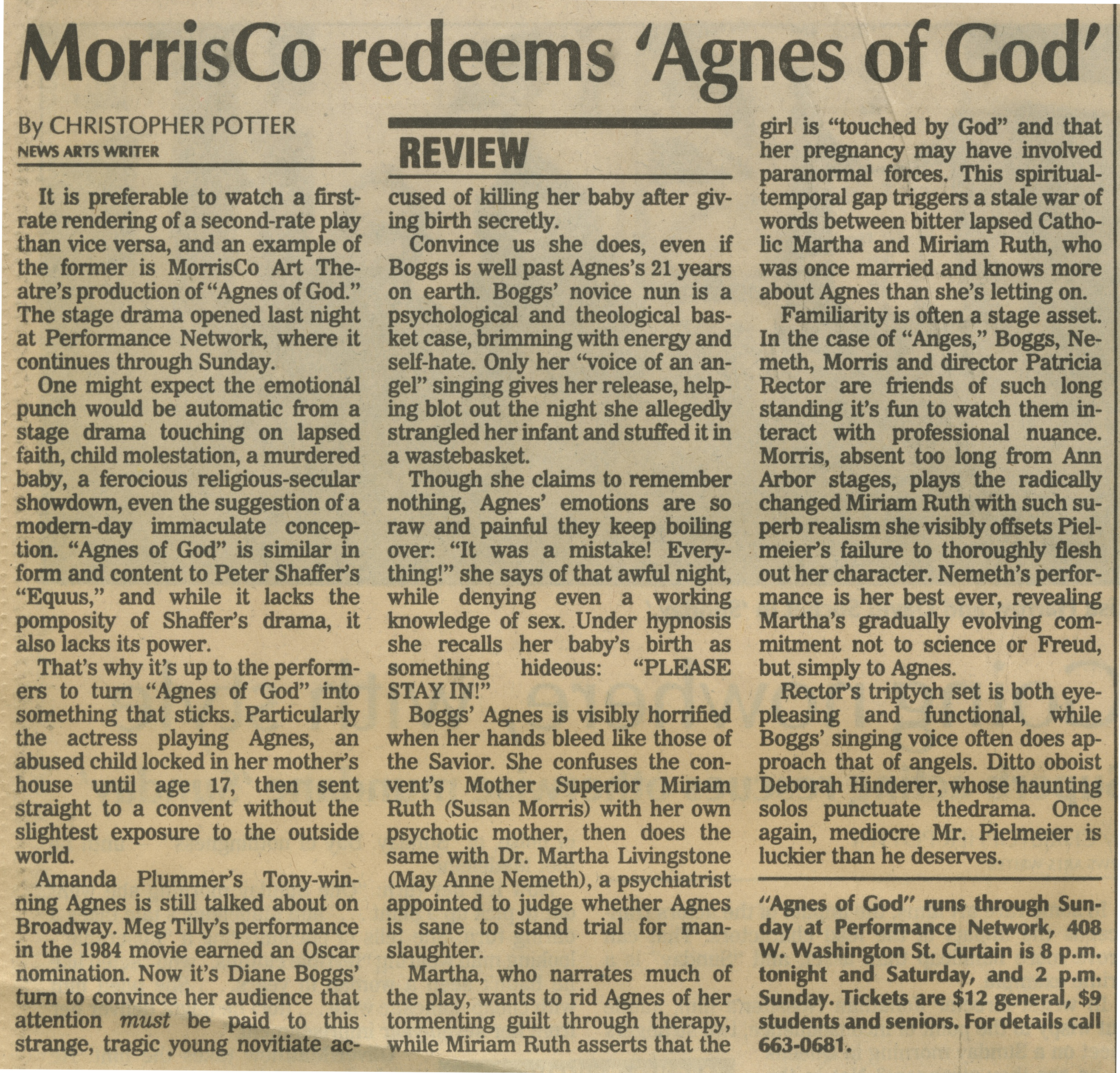 MorrisCo redeems 'Agnes of God' image