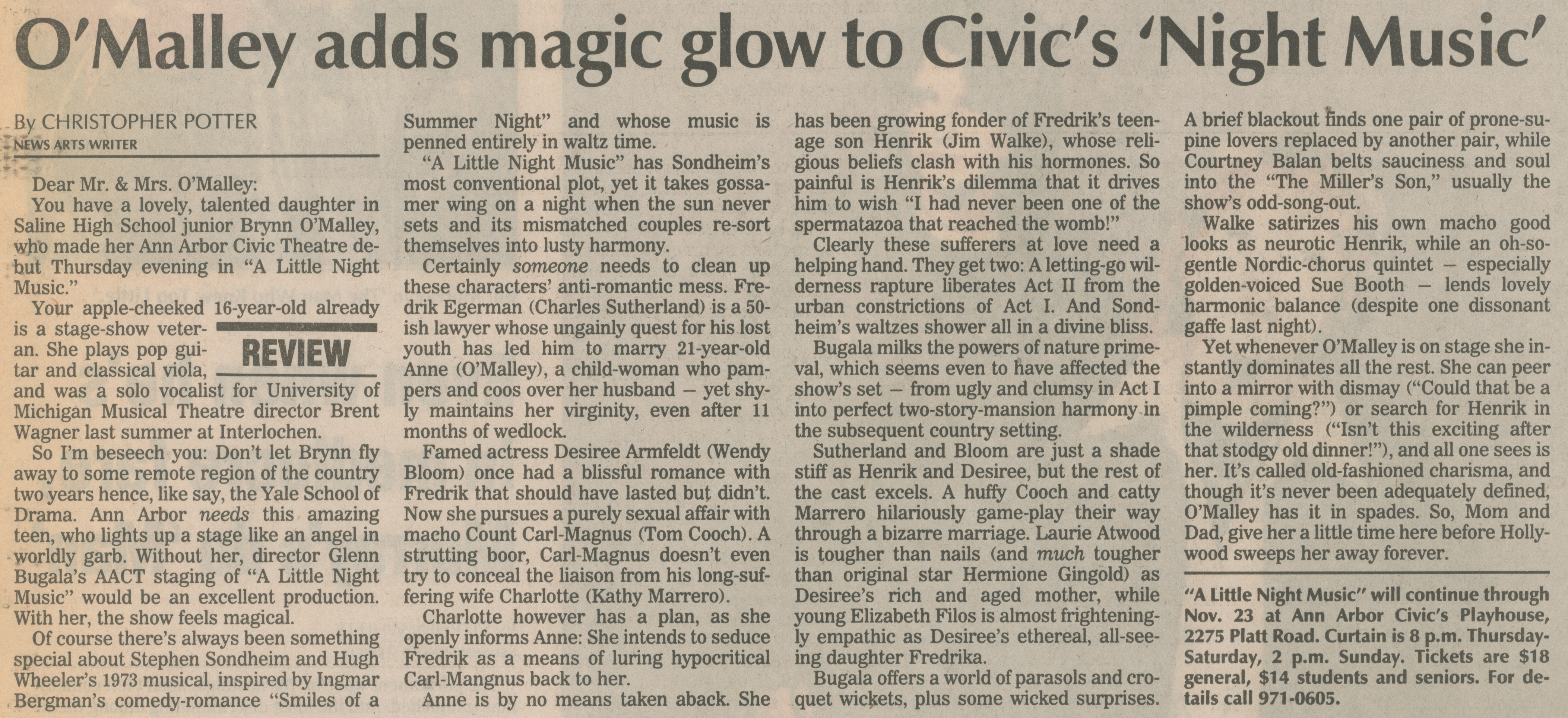 O'Malley Adds Magic Glow To Civic's 'Night Music' image