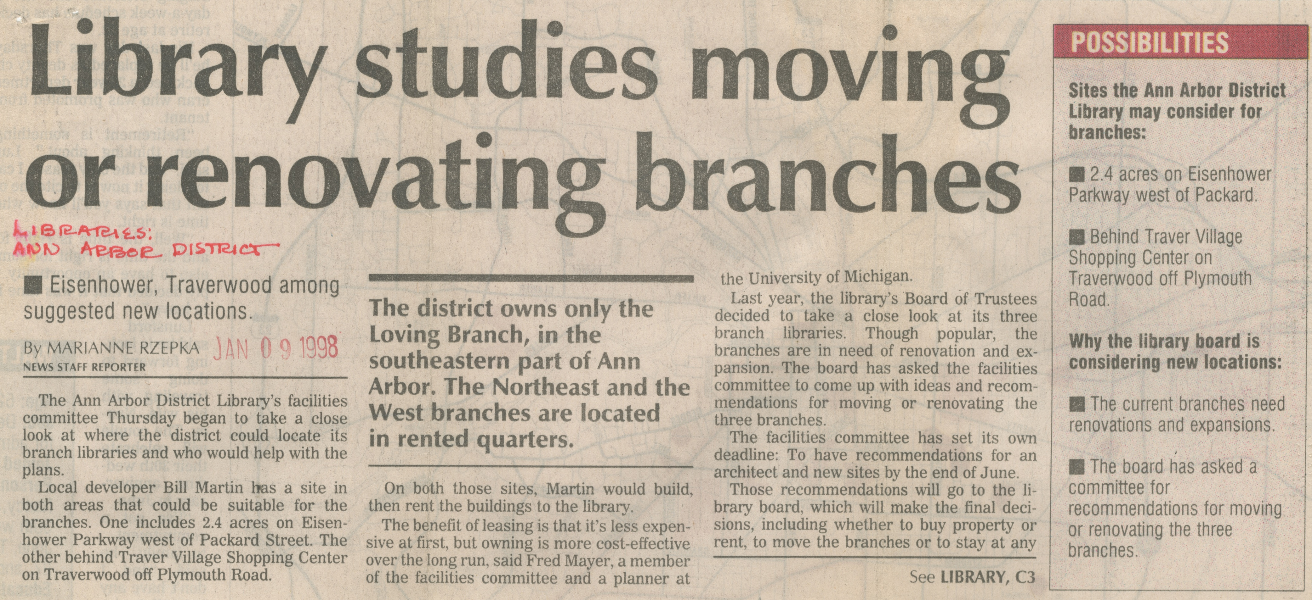 Library Studies Moving Or Renovating Branches image
