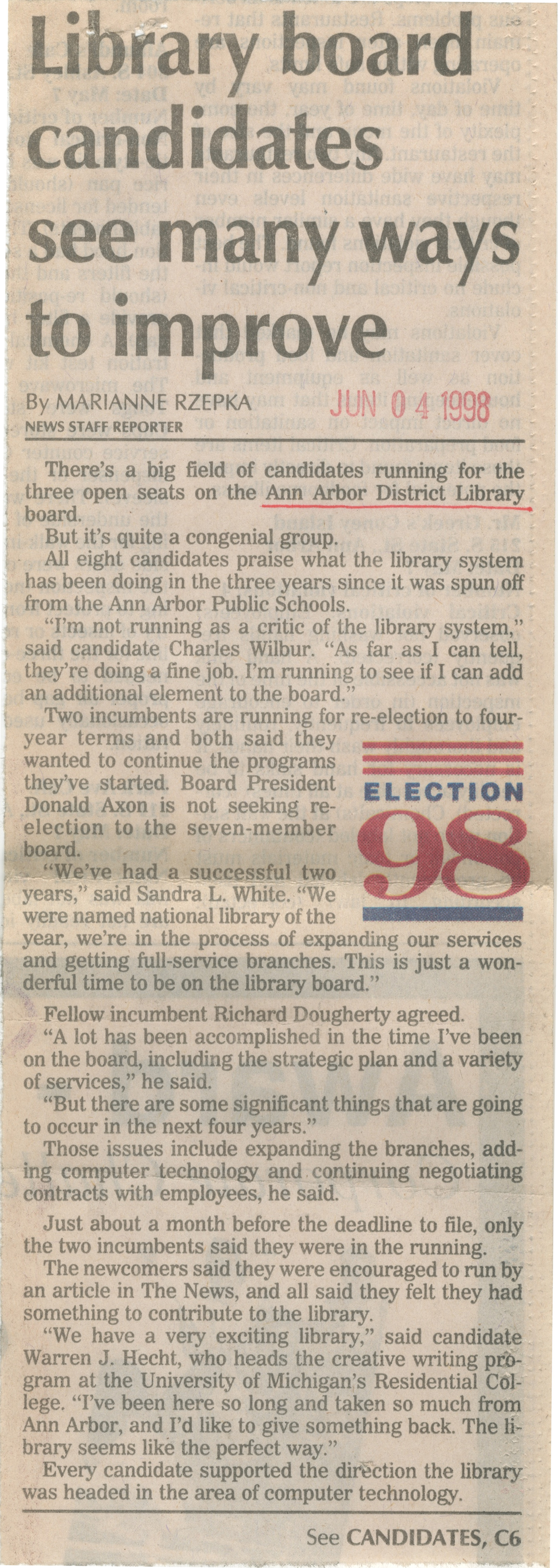 Election 98: Library Board Candidates See Many Ways To Improve image