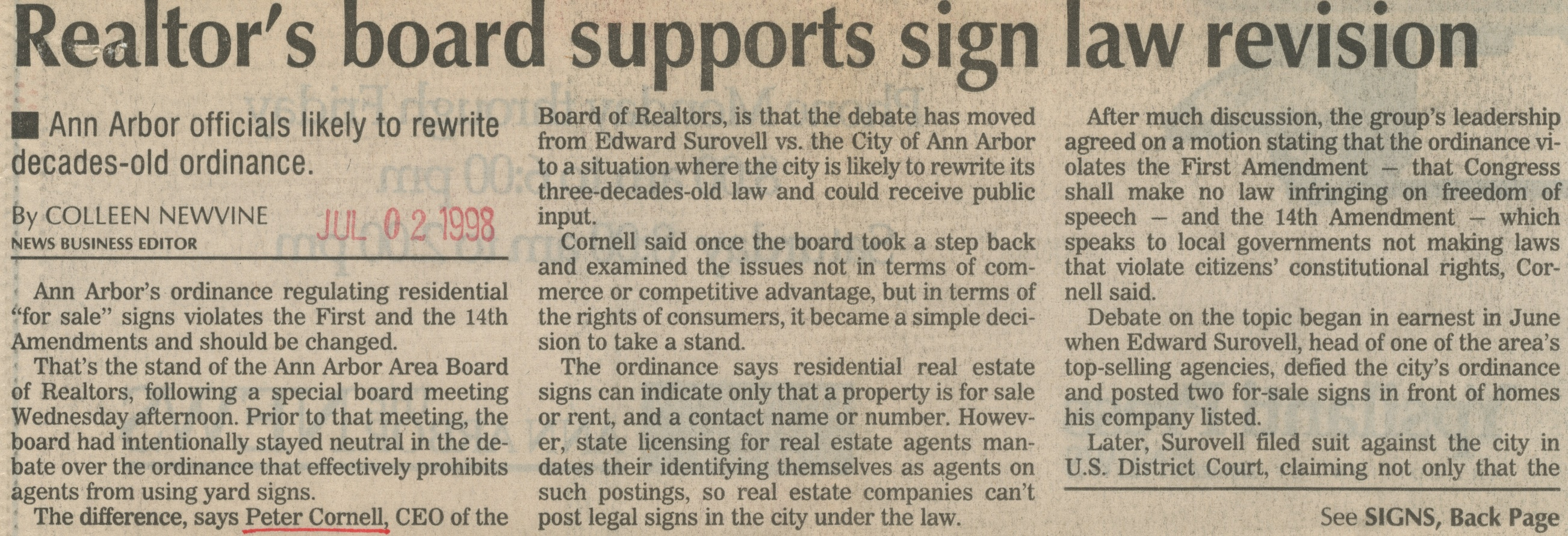 Realtor's Board Supports Sign Law Revision image
