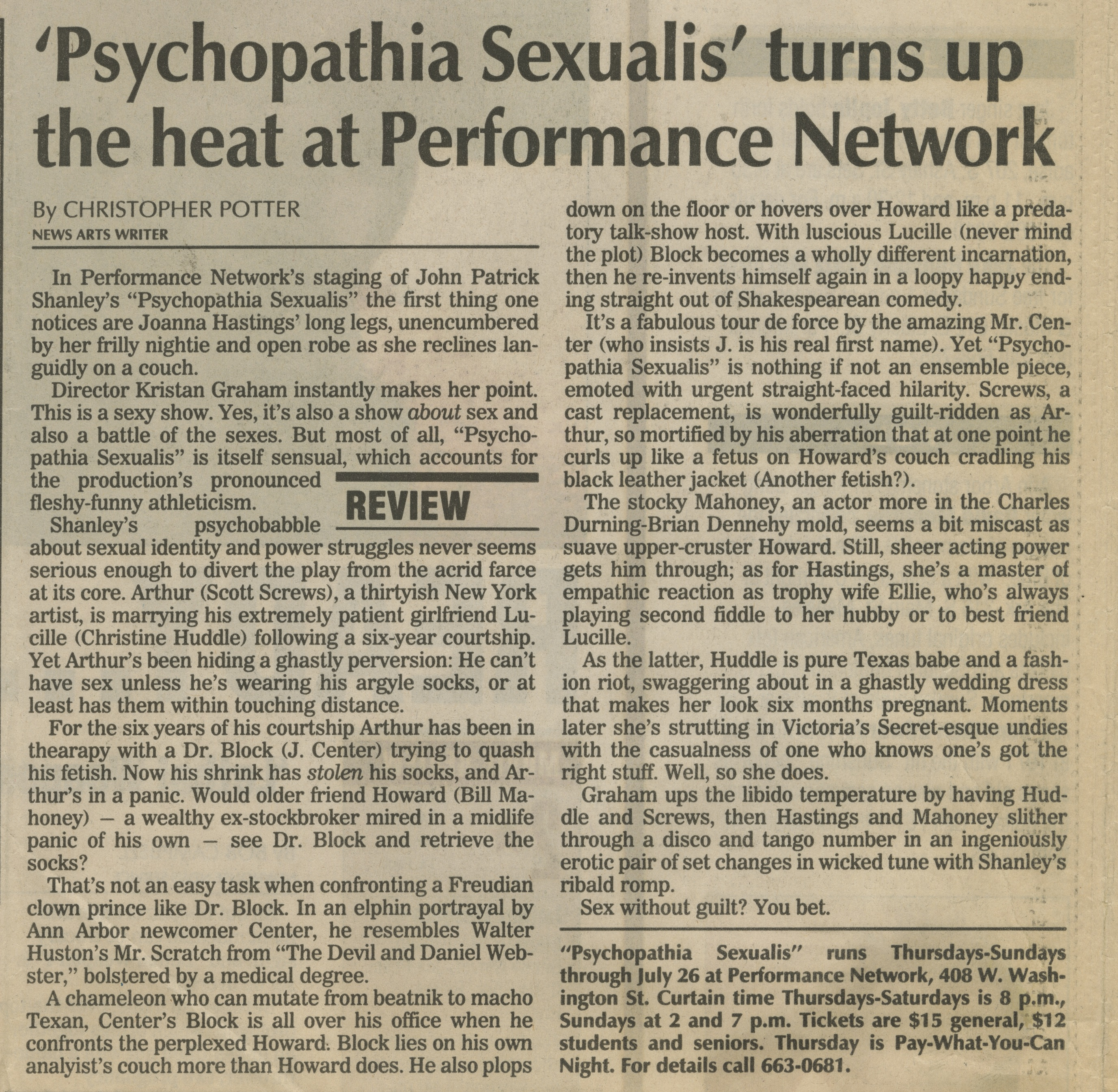 'Psychopathia Sexualis' turns up the heat at Performance Network image