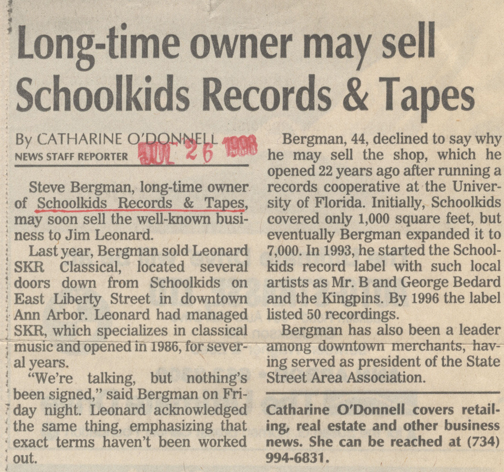 Long-time Owner May Sell Schoolkids Records & Tapes image