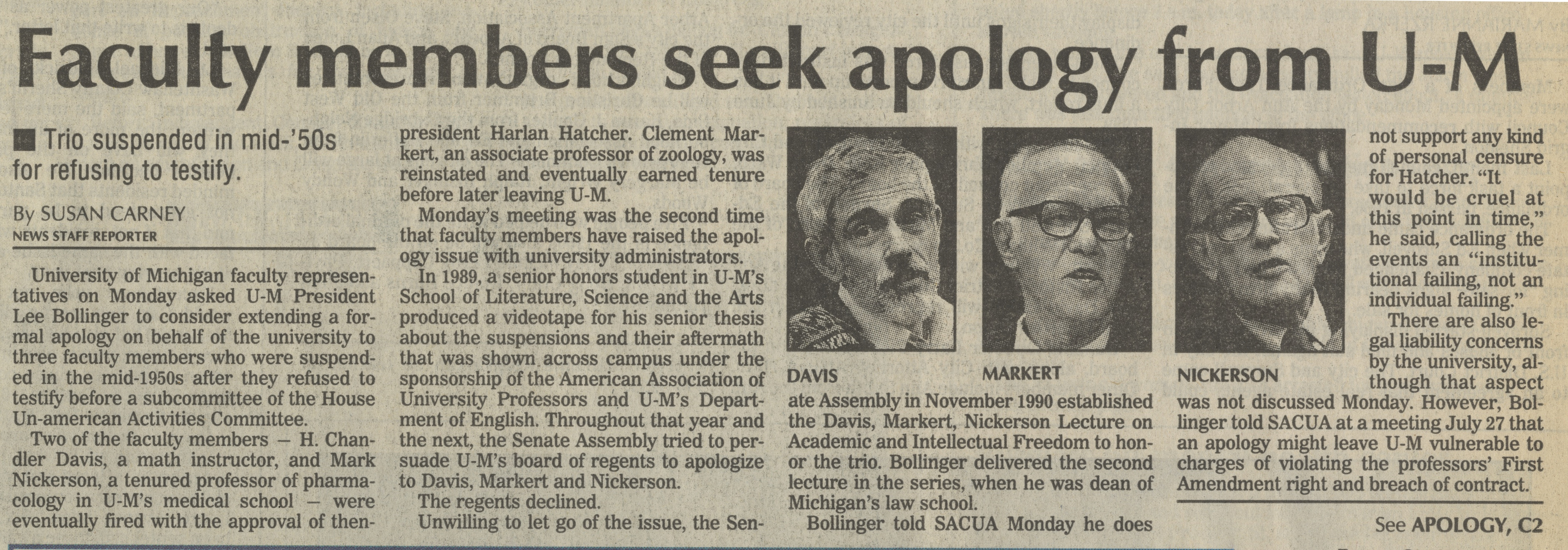 Faculty Members Seek Apology From U-M image
