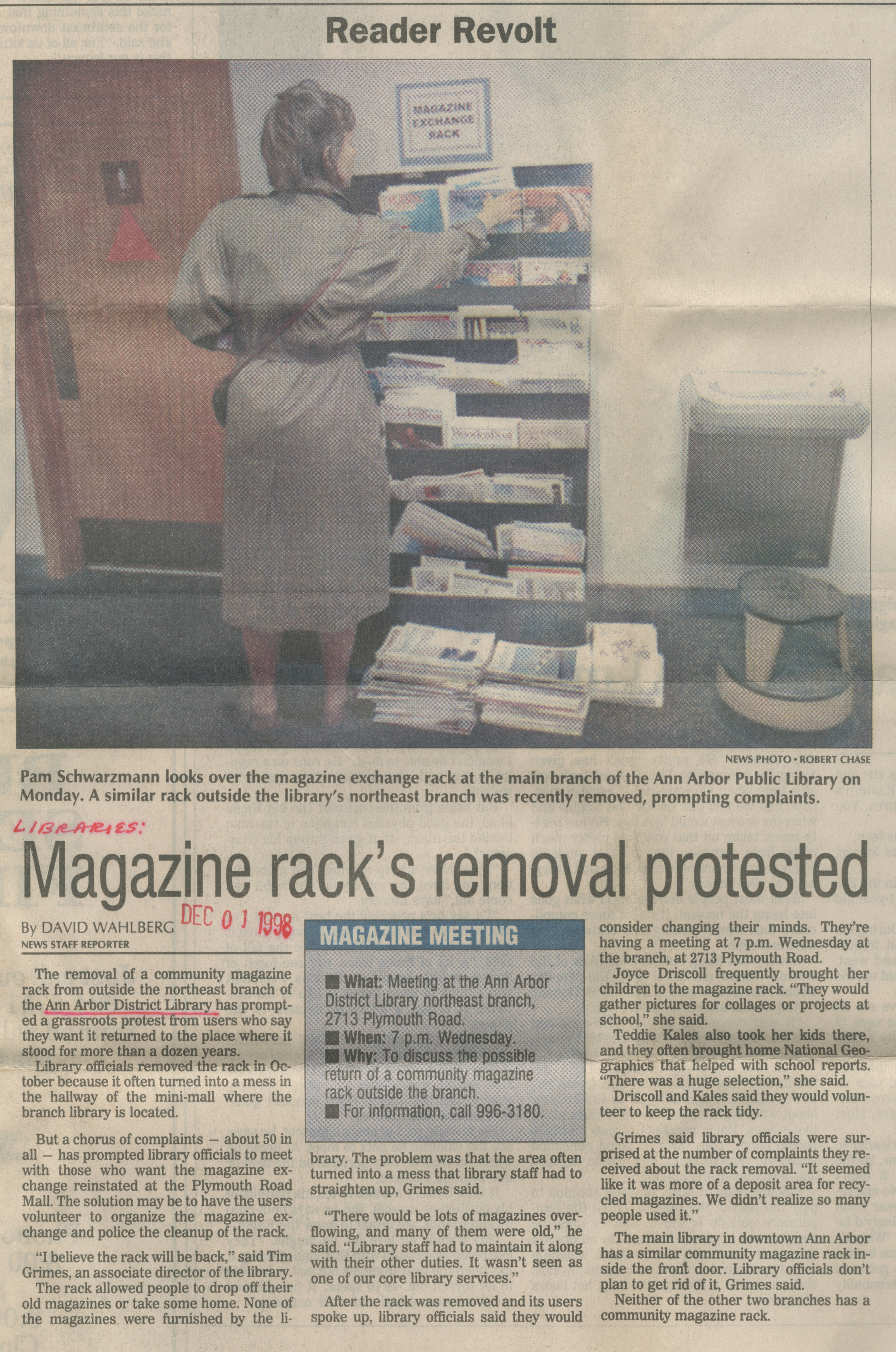 Reader Revolt - Magazine Rack's Removal Protested image