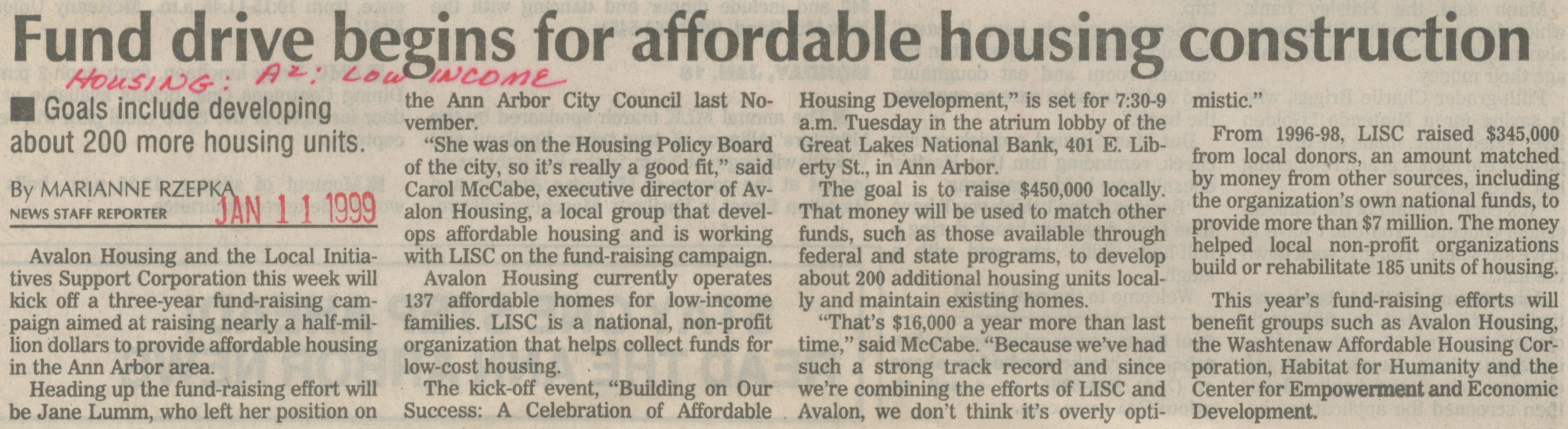 Fund Drive Begins for Affordable Housing Construction image