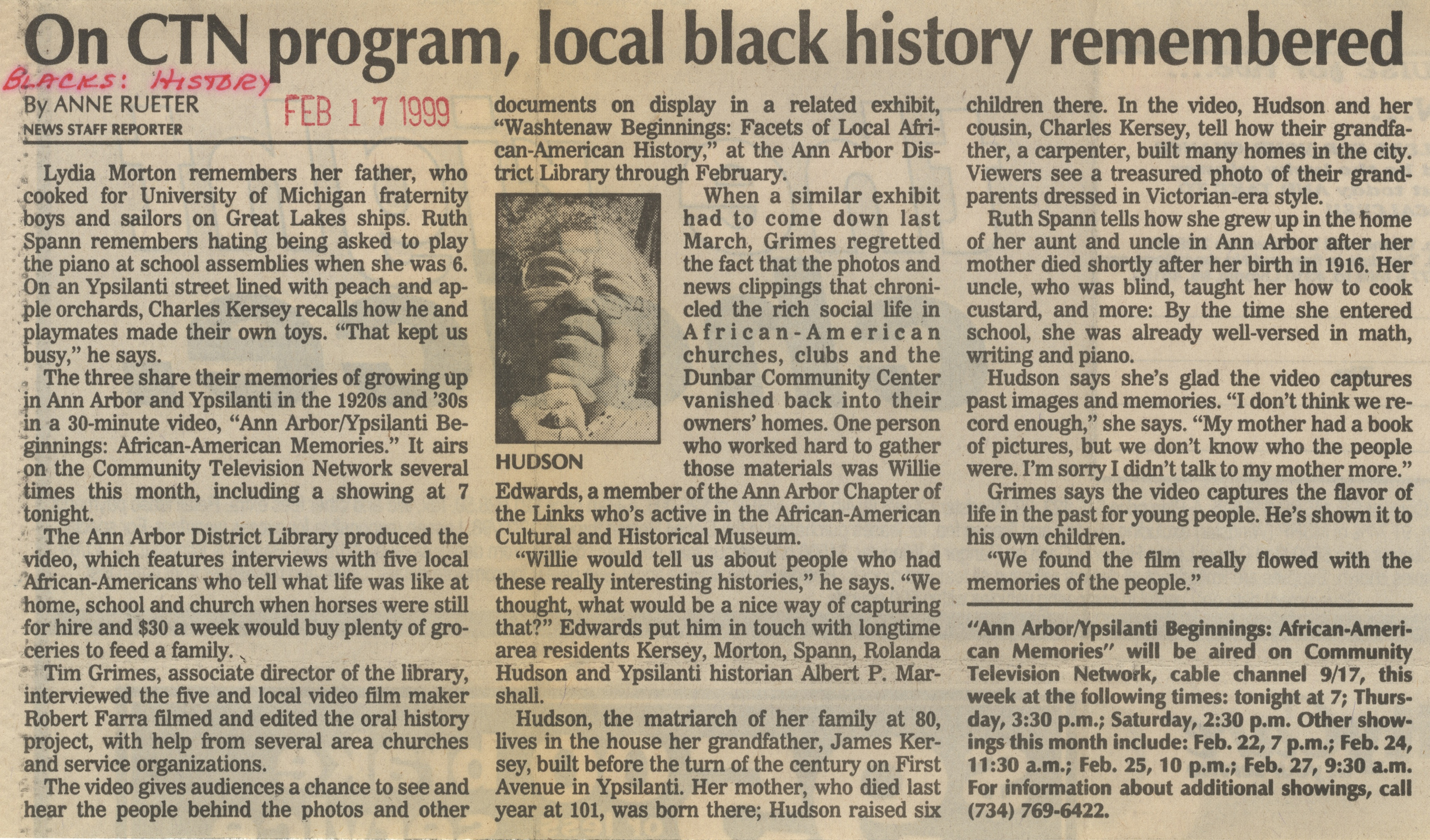 On CTN Program, Local Black History Remembered image