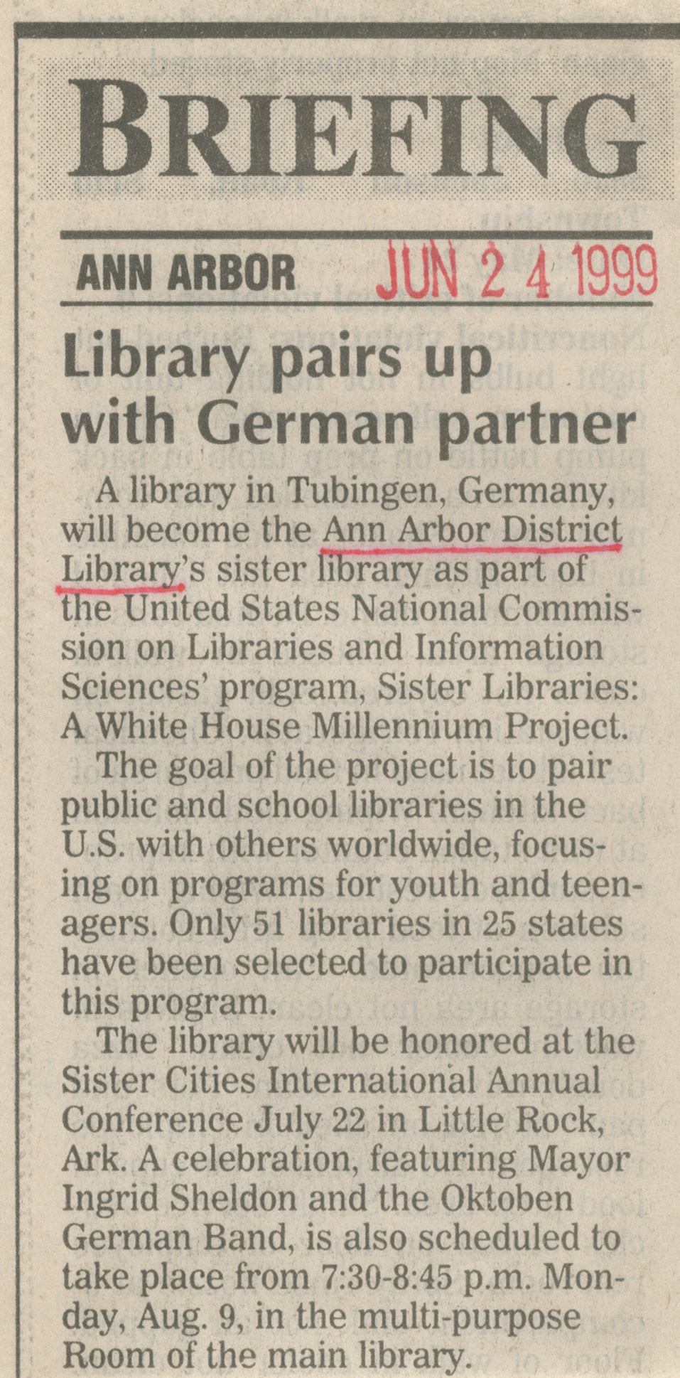 Library Pairs Up With German Partner image