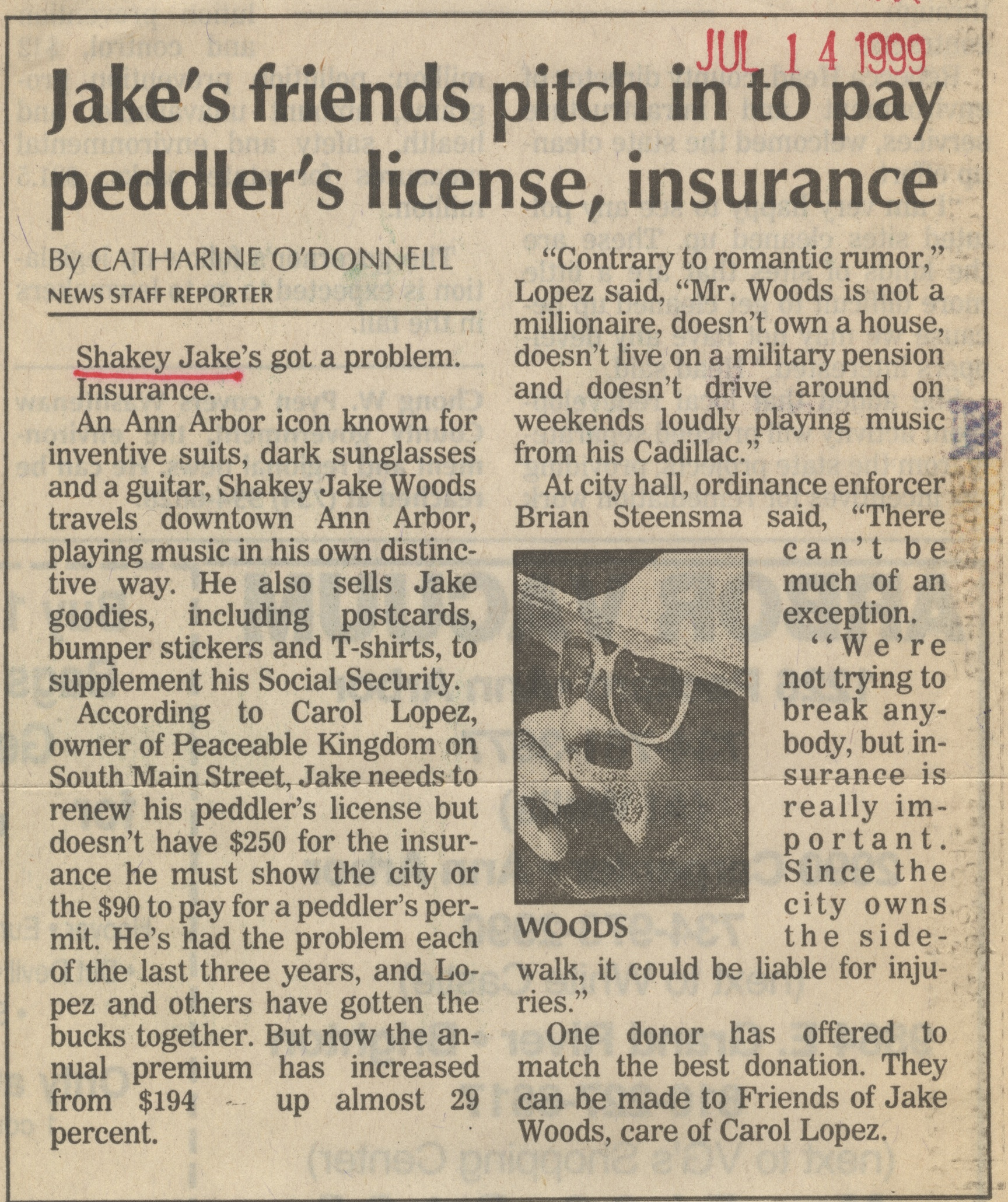 Jake's Friends Pitch In To Pay Peddler's License, Insurance image