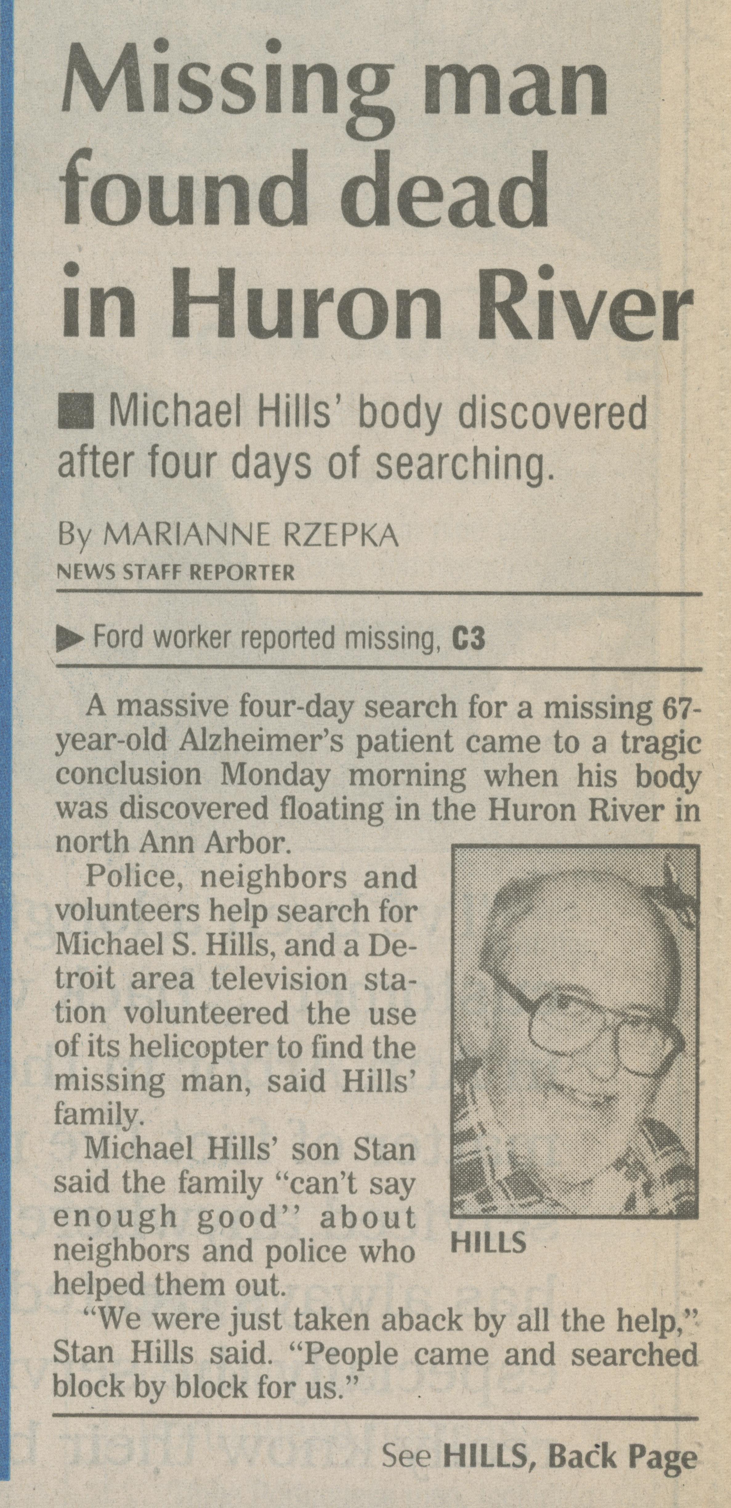 Missing man found dead in Huron River | Ann Arbor District