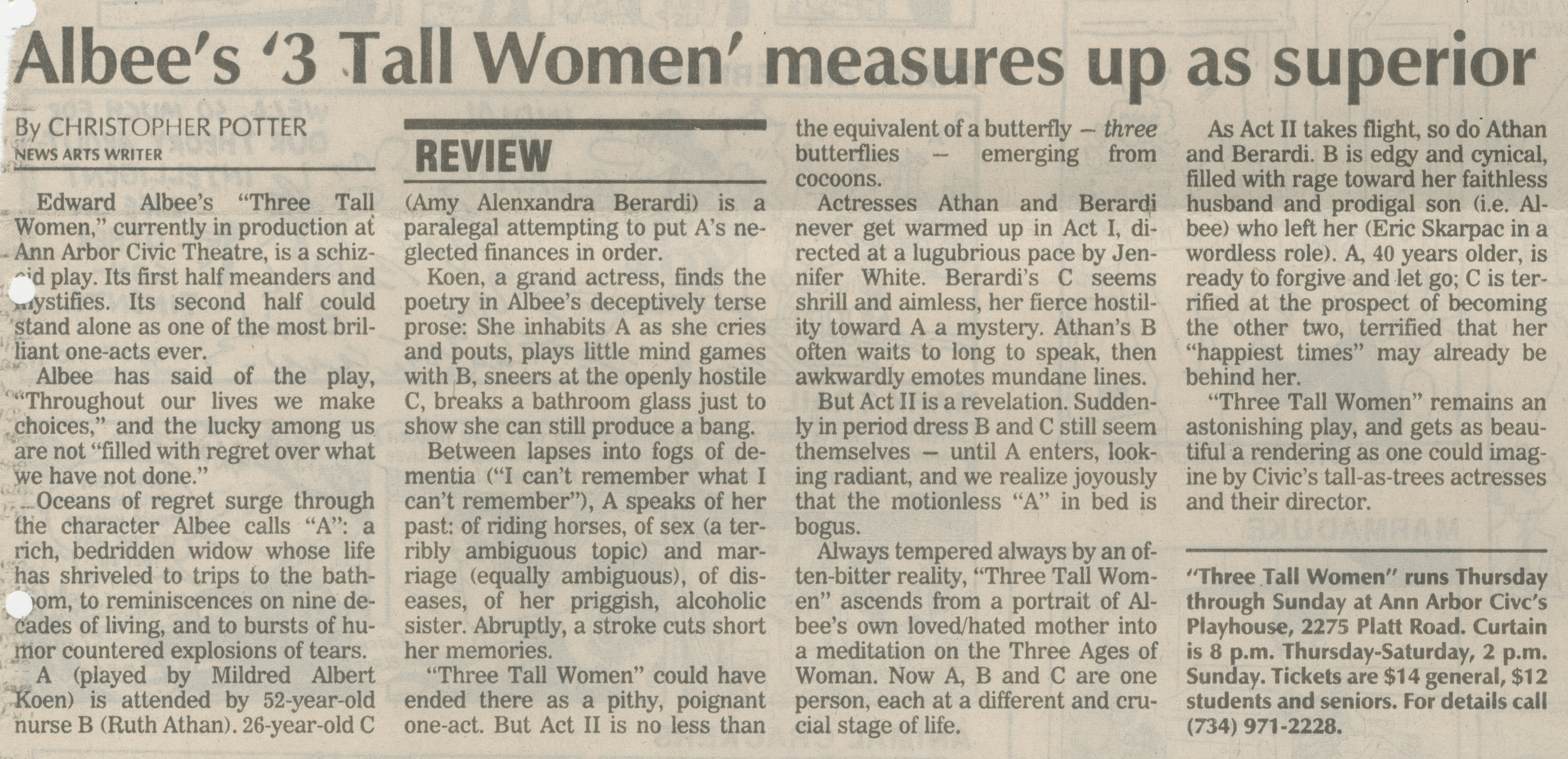 Albee's '3 Tall Women' Measures Up As Superior image