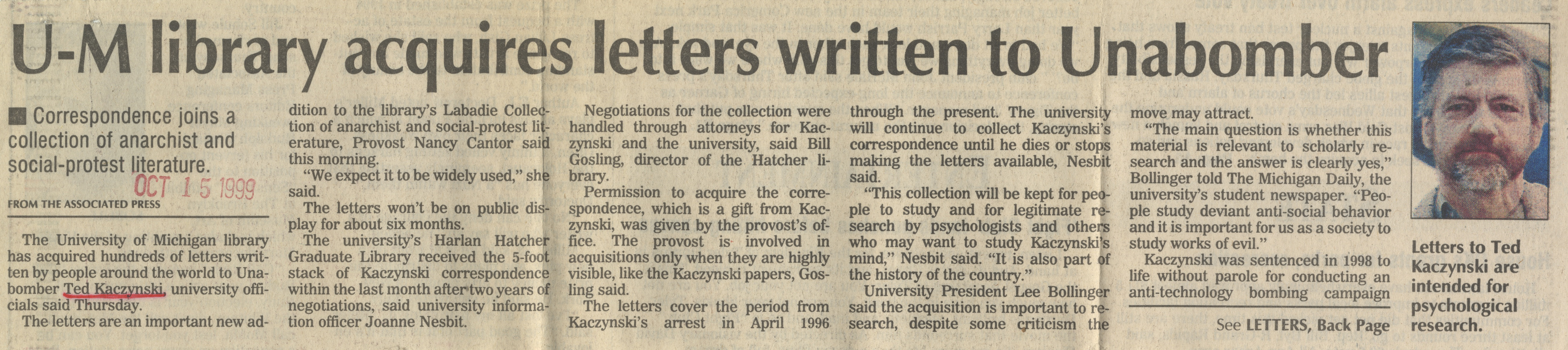 U-M Library Acquires Letters Written To Unabomber image