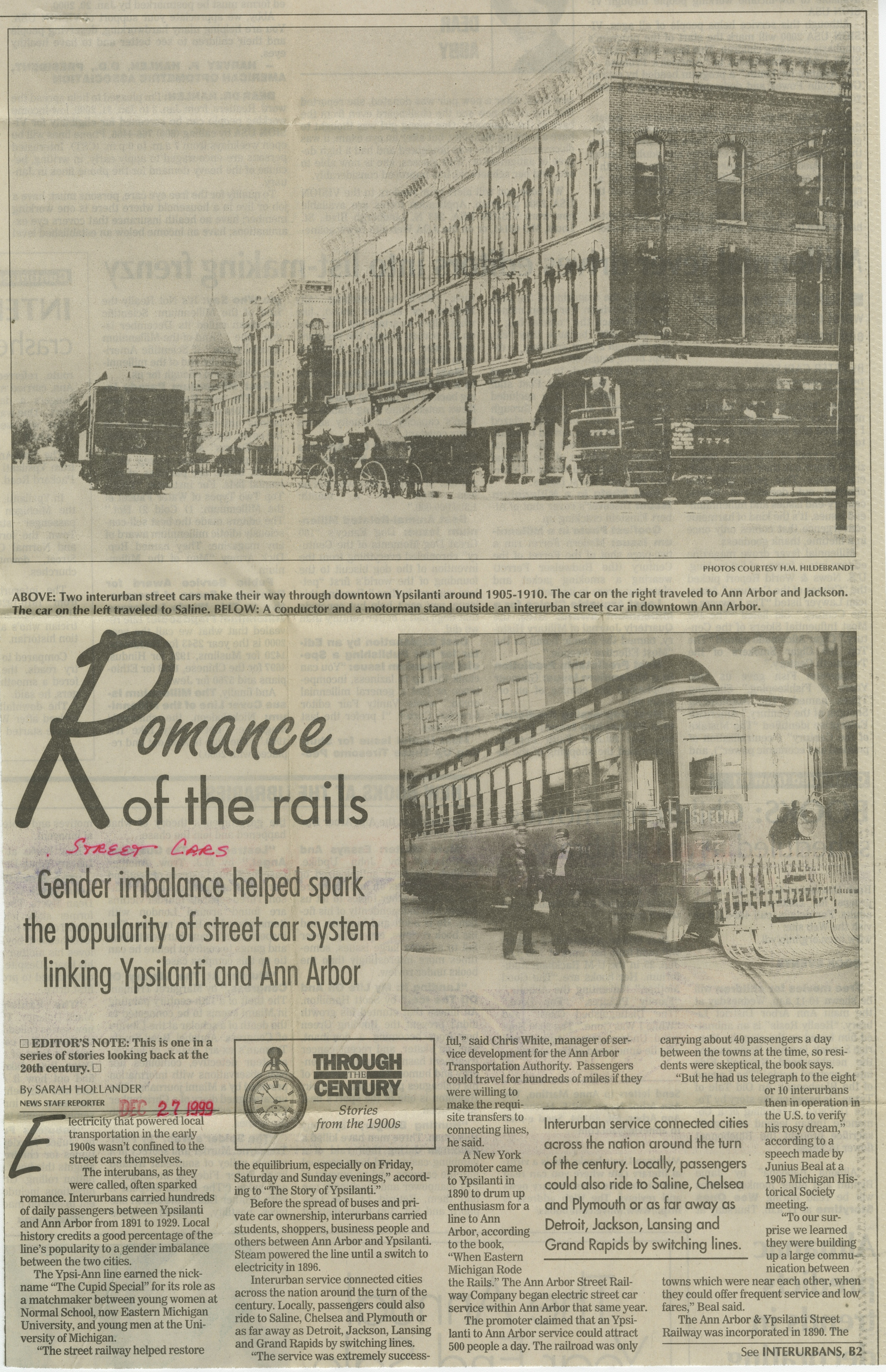 Romance of the rails: gender imbalance helped spark the popularity of street car system linking Ypsilanti and Ann Arbor image