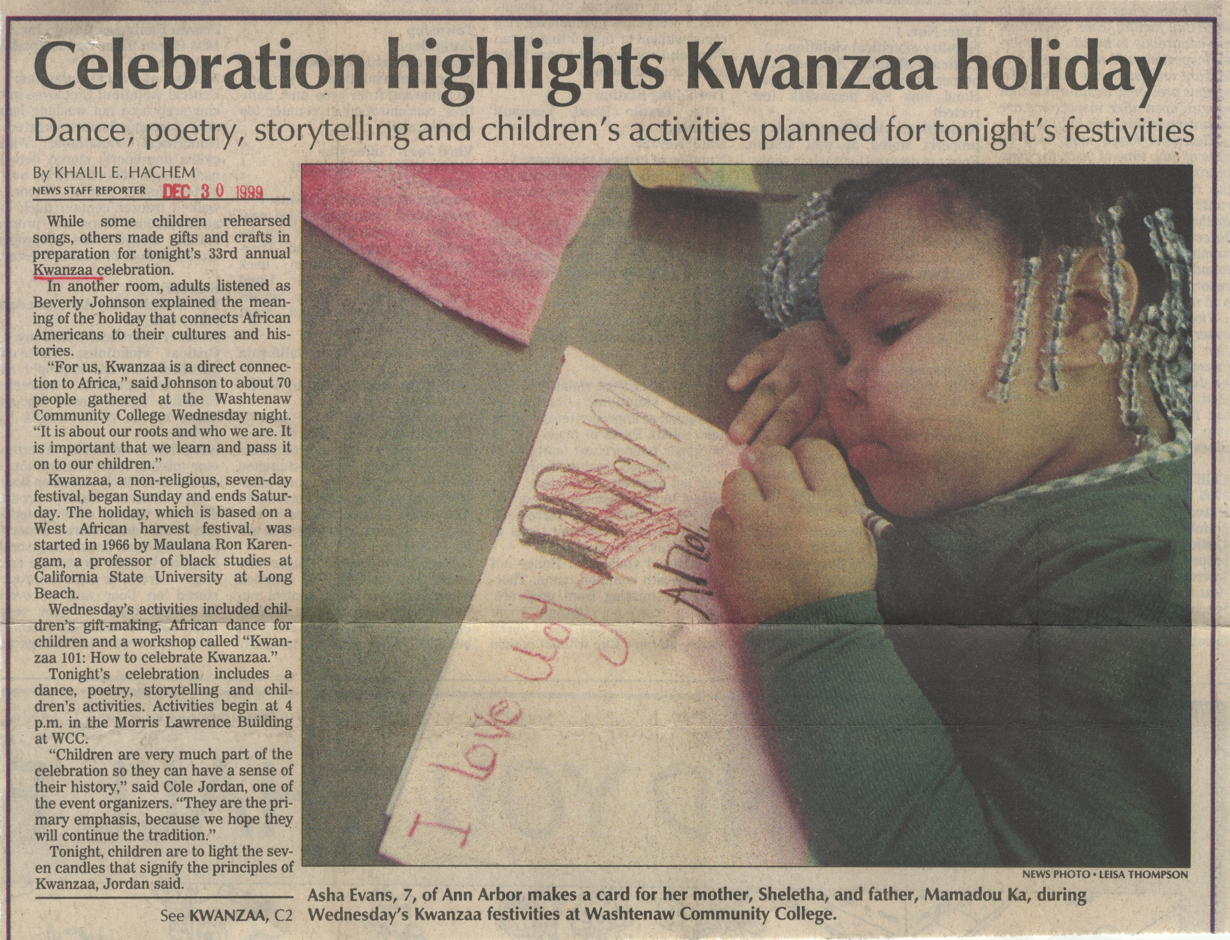 Celebration Highlights Kwanzaa Holiday image