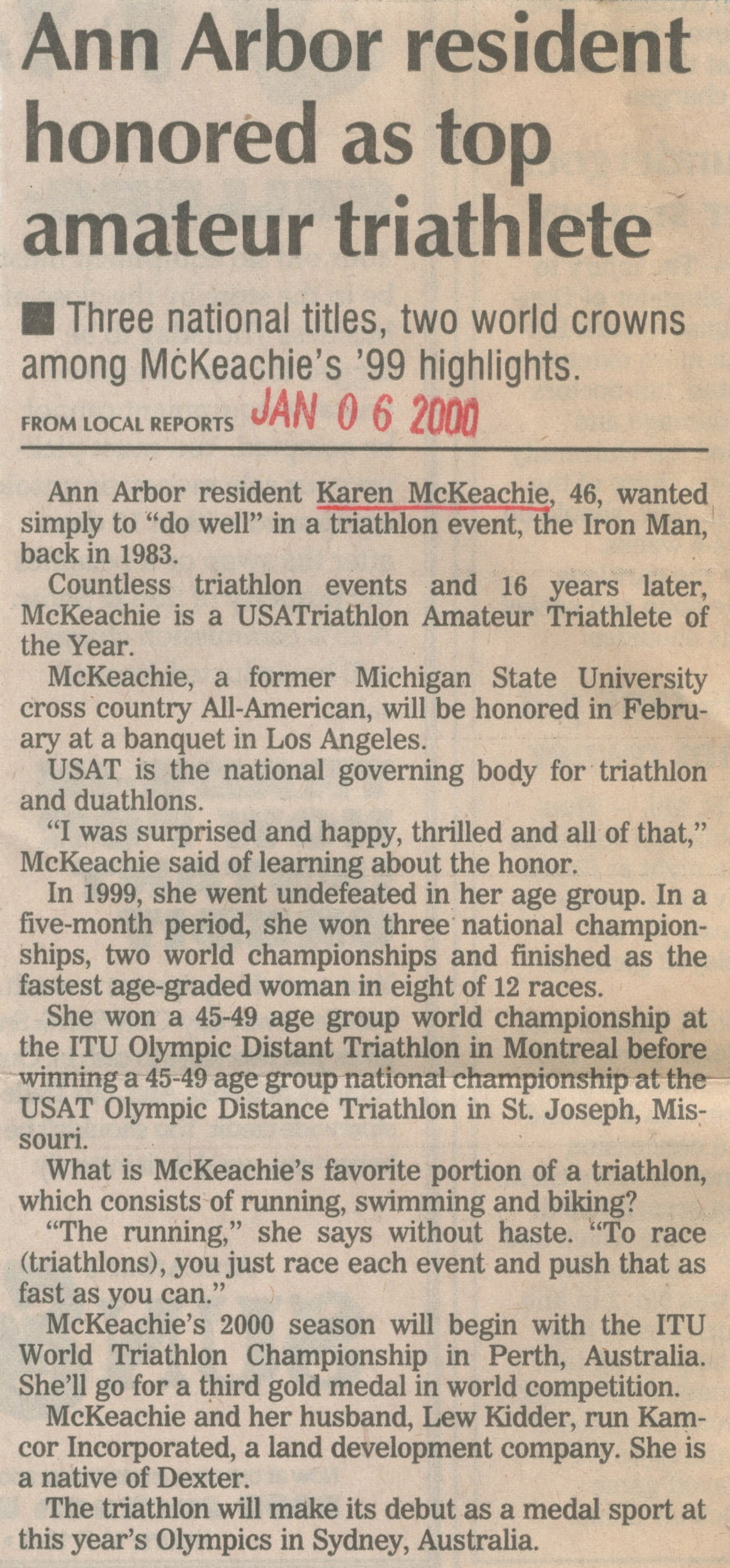Ann Arbor Resident Honored As Top Amateur Triathlete image