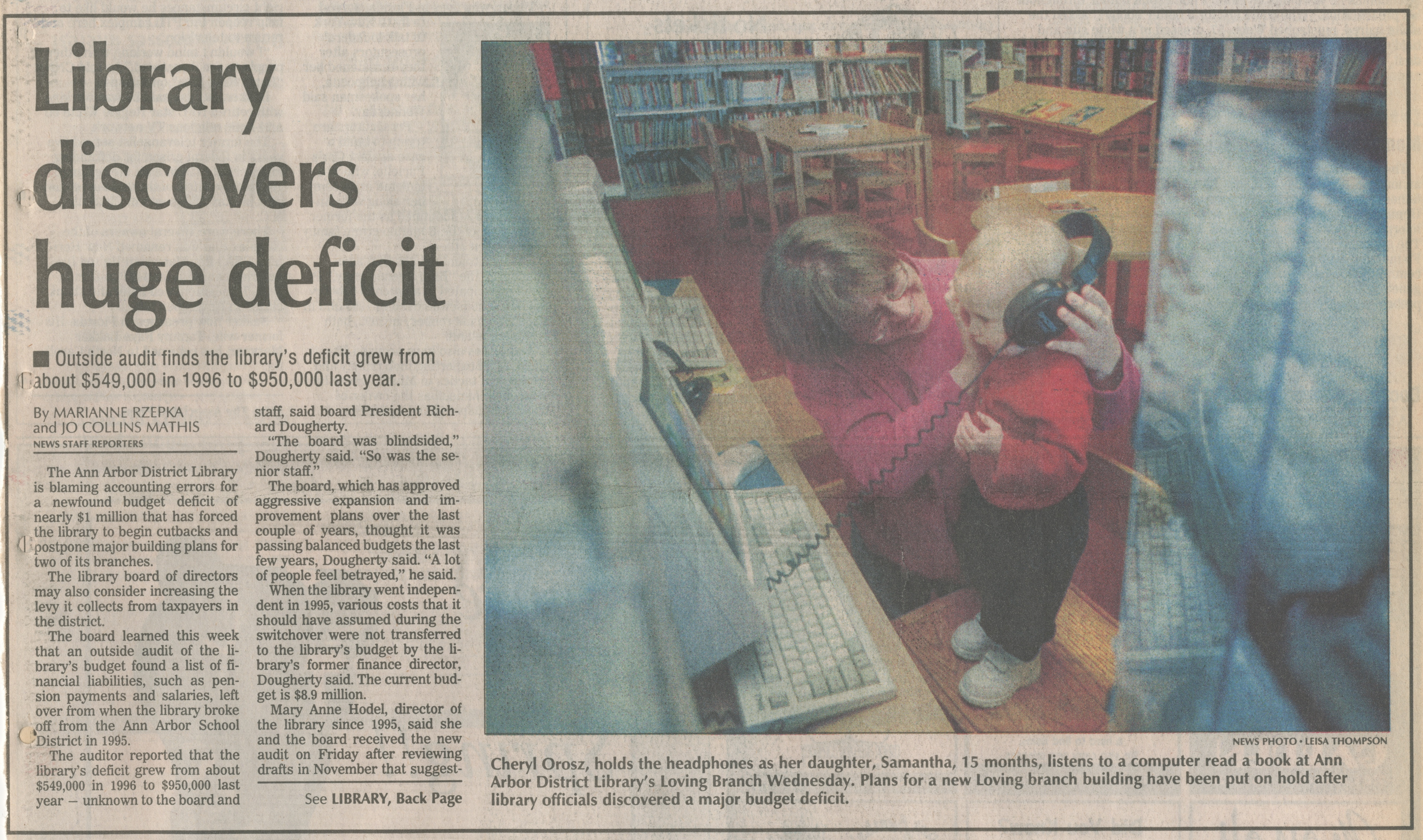 Library Discovers Huge Deficit image